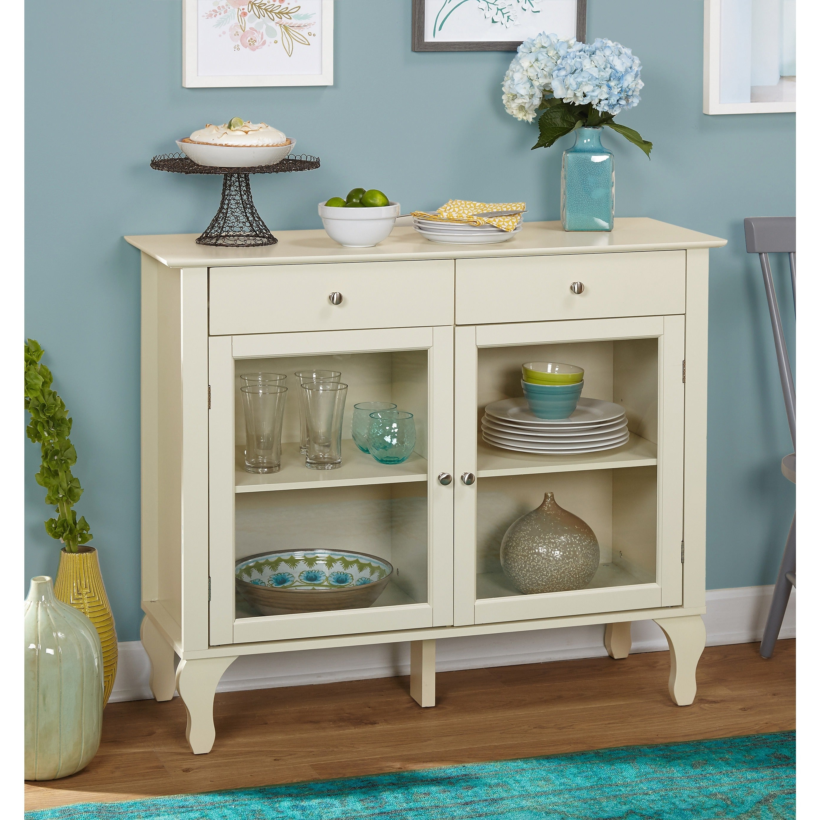 Simple Living Layla Antique Buffet Within White Beadboard Buffets (View 12 of 20)