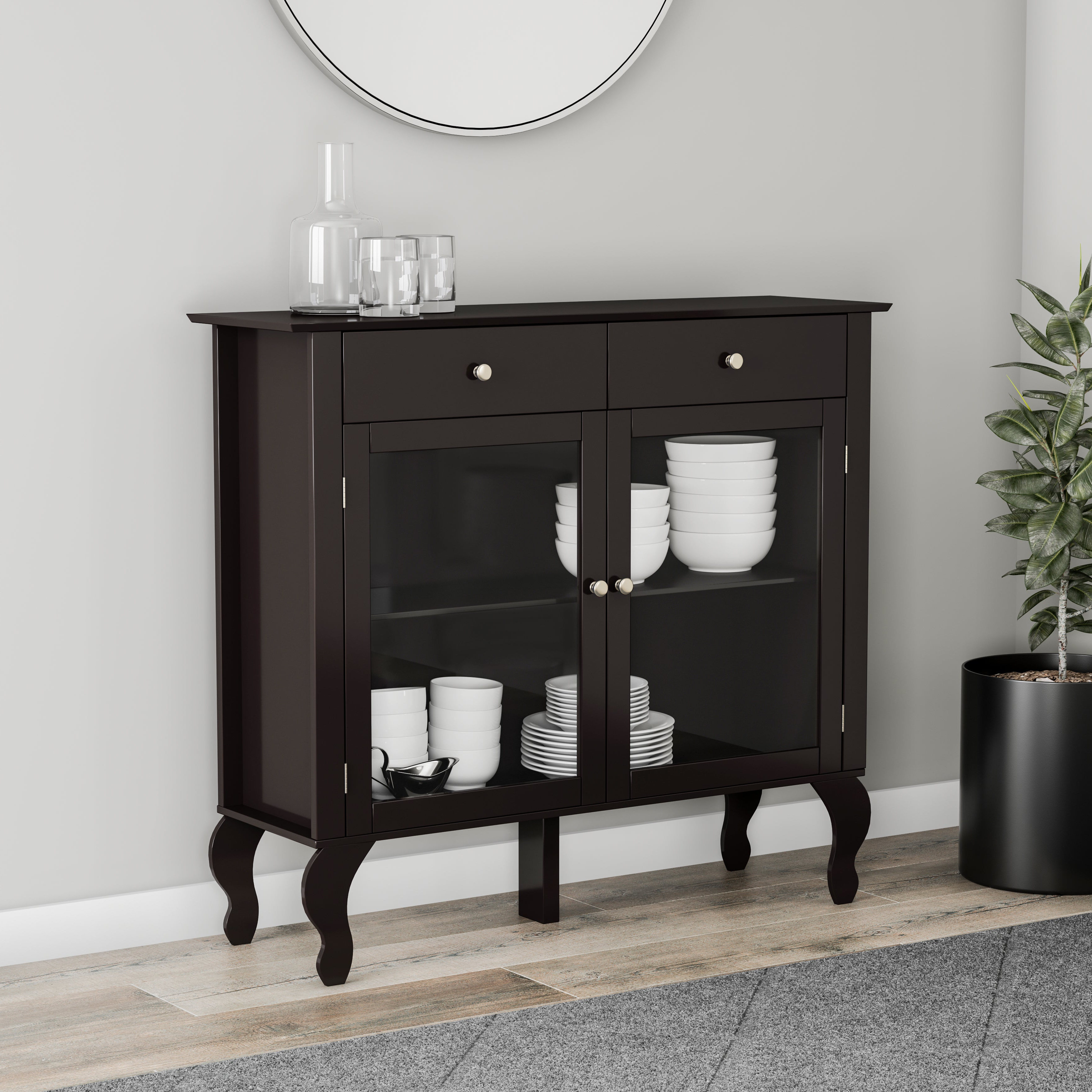 Simple Living Layla Black Buffet Within 2 Shelf Buffets With Curved Legs (View 14 of 20)