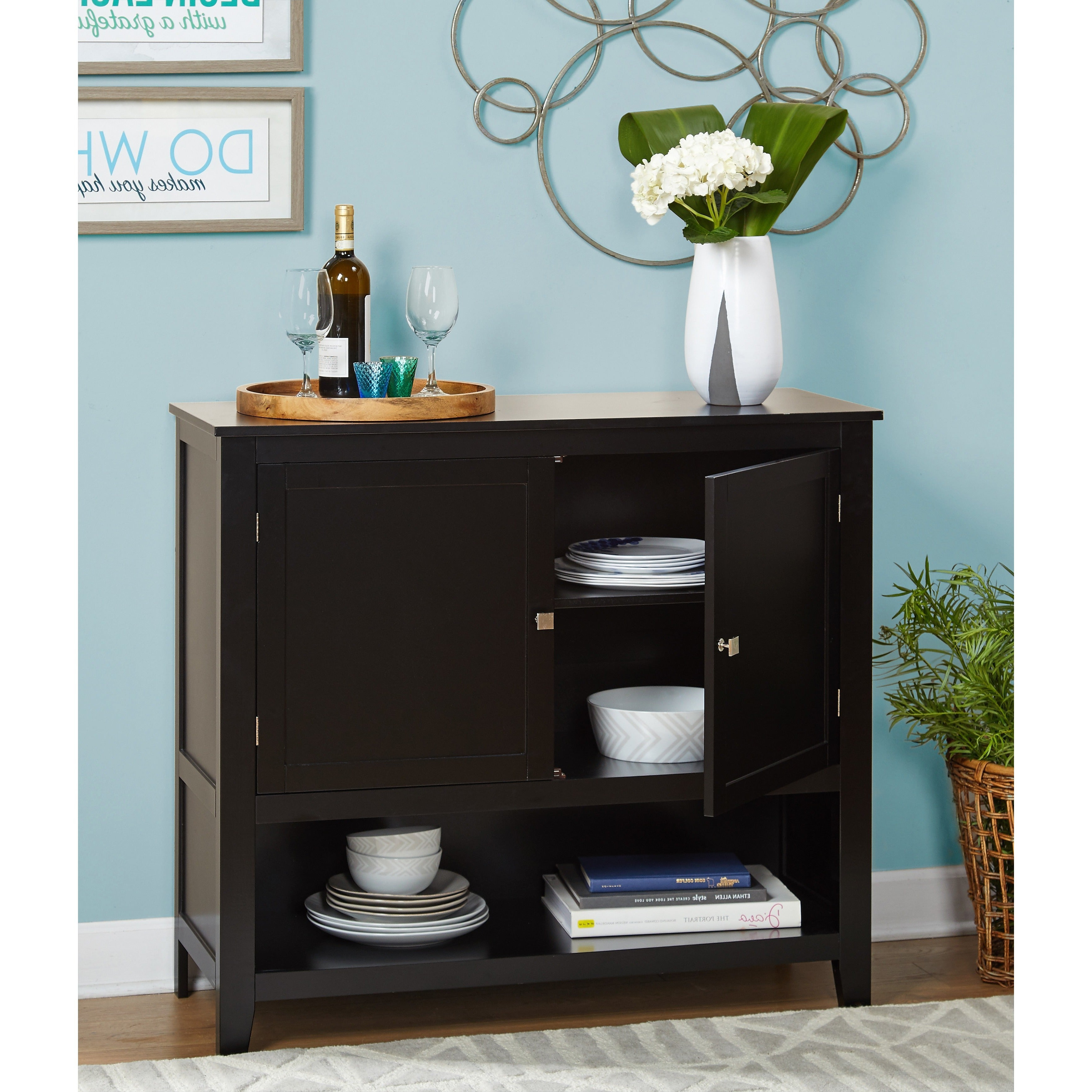 Simple Living Montego Black Wooden Buffet Regarding Simple Living Montego Two Door Buffets (View 2 of 20)