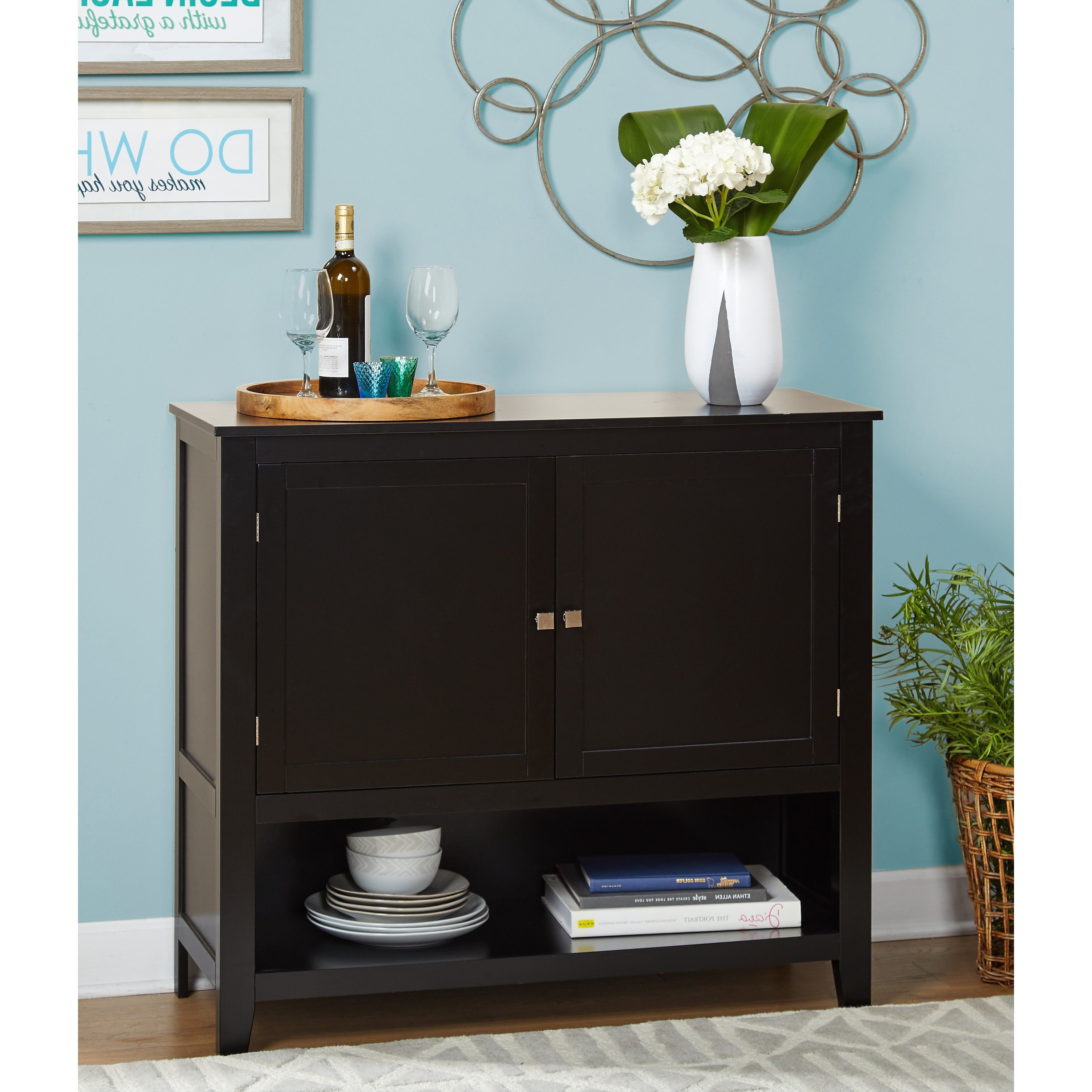 Simple Living Montego Black Wooden Buffet Regarding Simple Living Southport Dining Buffets (View 9 of 20)