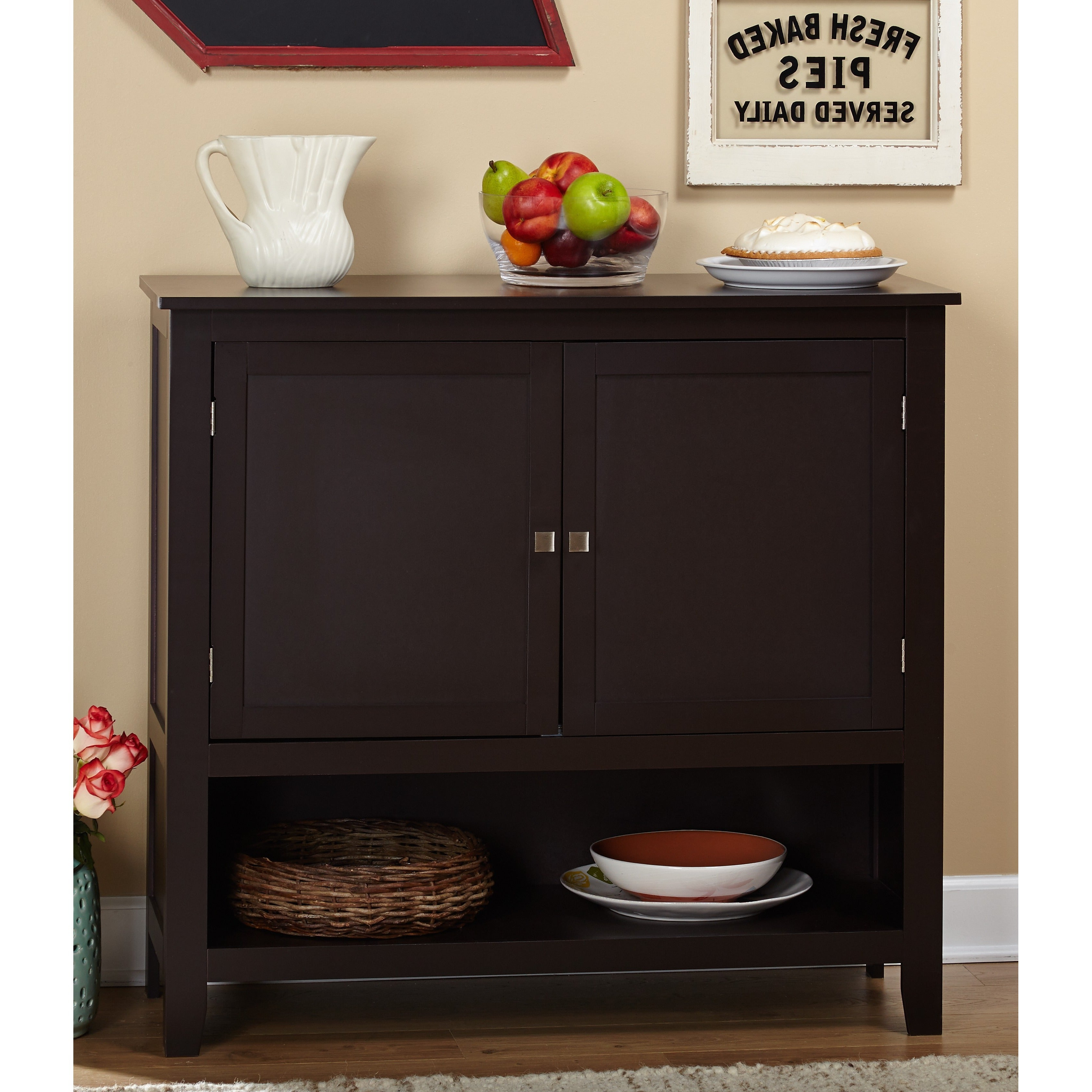 Simple Living Montego Espresso Wooden Buffet Pertaining To Simple Living Montego Black Wooden Buffets (View 6 of 20)