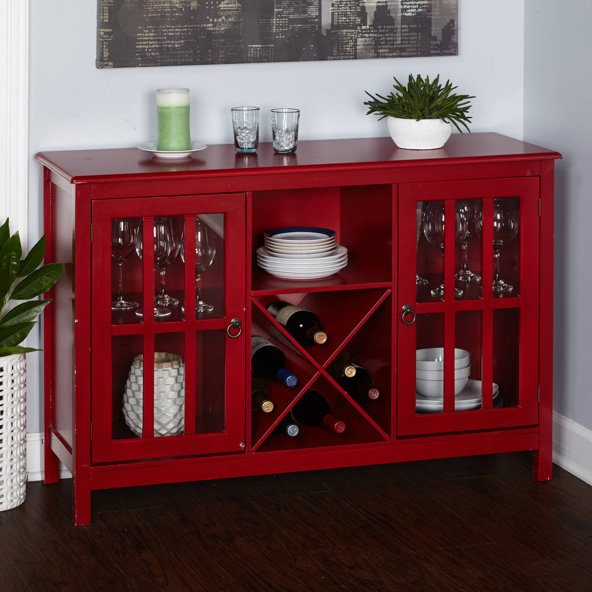 Simple Living Portland Wine Buffet, Red In Modern Red Buffets (View 19 of 20)