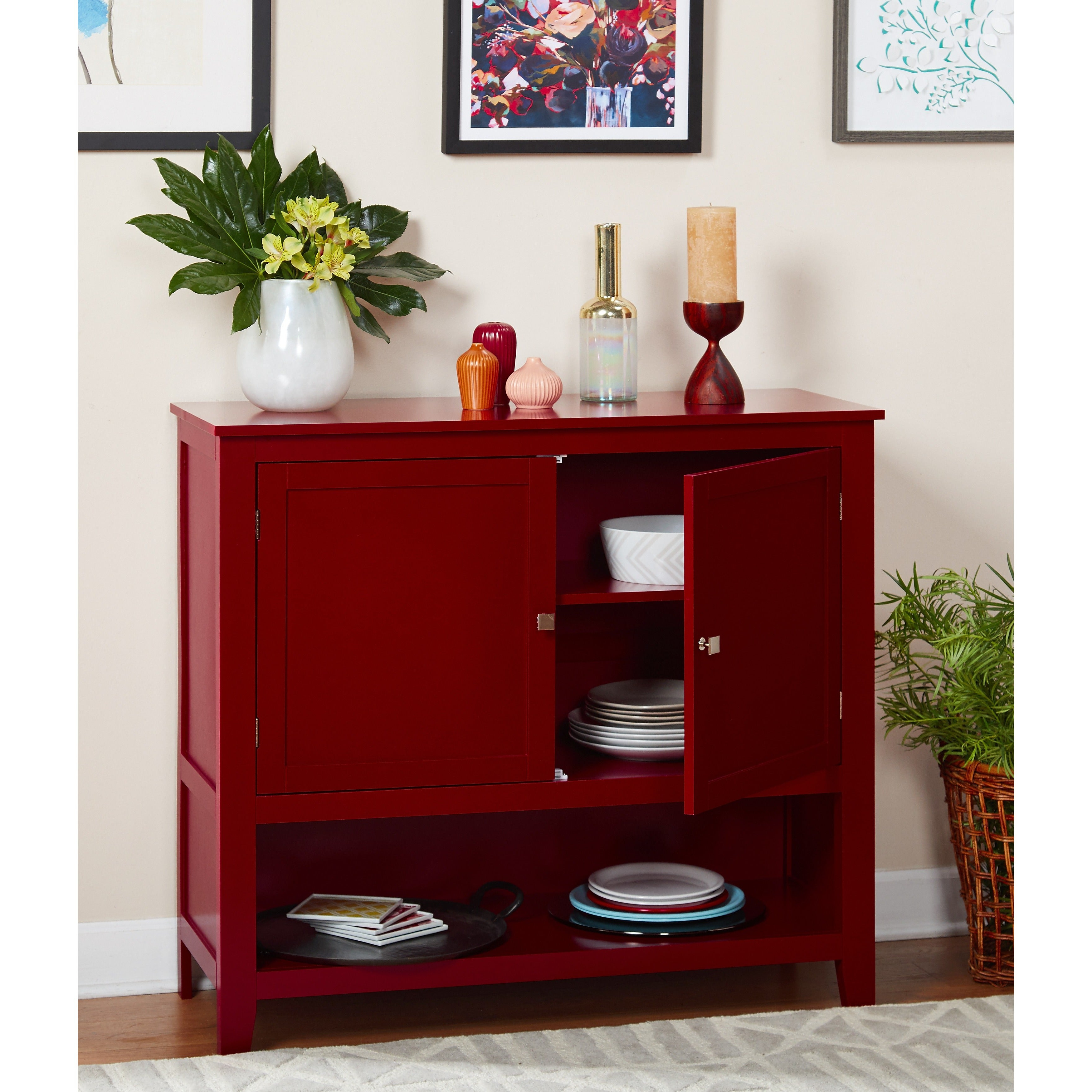 Simple Living Red Montego Buffet Intended For Simple Living Montego Two Door Buffets (View 4 of 20)