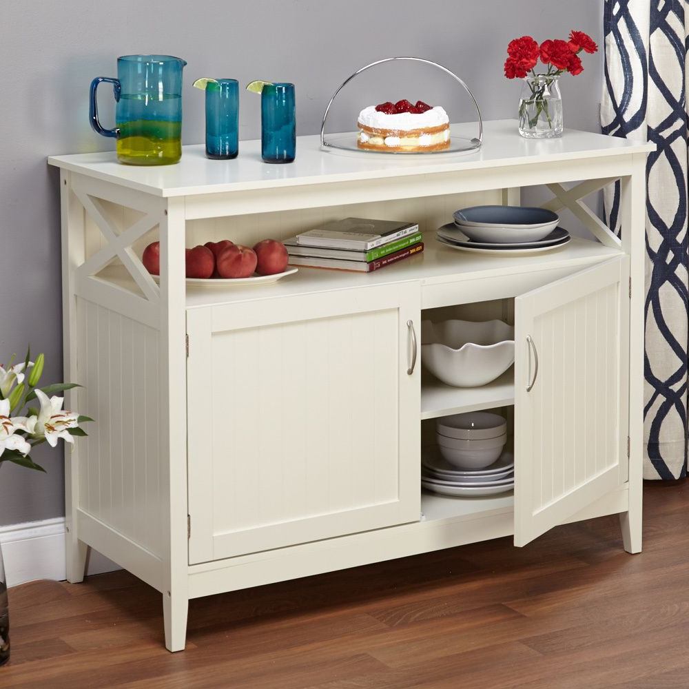 Simple Living Southport Antique White Beadboard Buffet Pertaining To Simple Living Antique White Kendall Buffets (View 14 of 20)