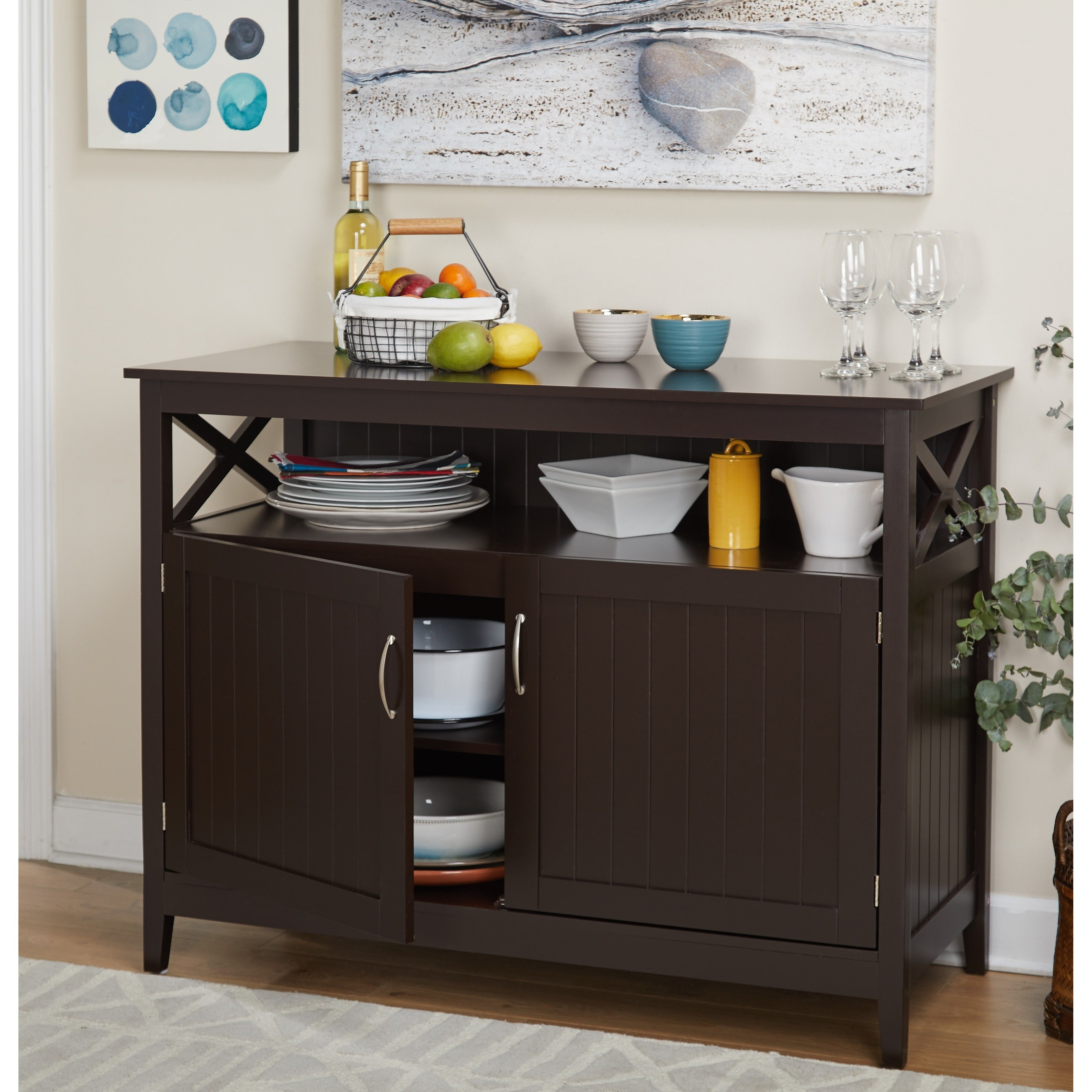 Simple Living Southport Dining Buffet Inside Espresso Sliding Door Stackable Buffets (View 15 of 20)