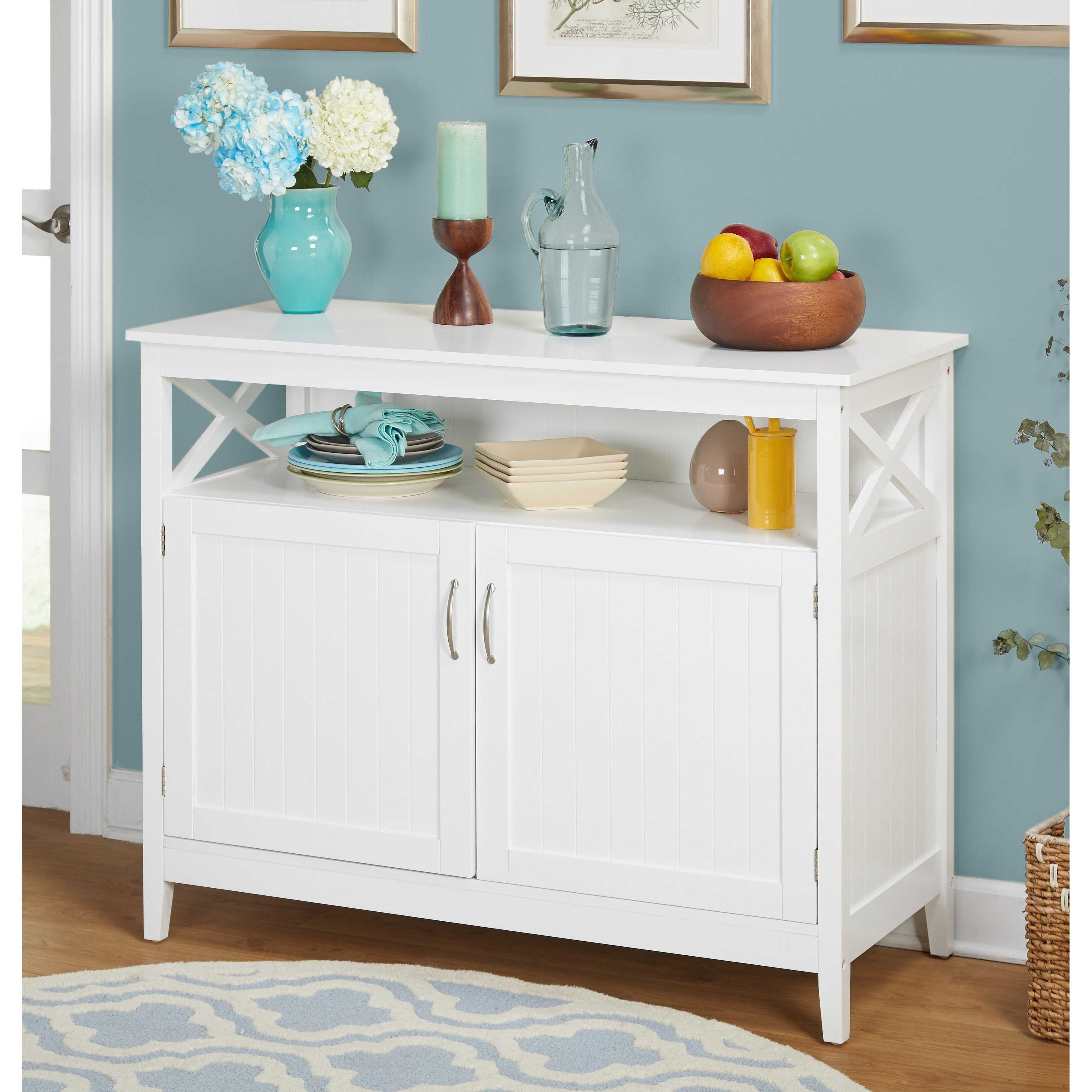 Simple Living Southport White Beadboard Buffet | Overstock Shopping –  The Best Deals On Buffets Regarding Simple Living Southport Dining Buffets (View 15 of 20)