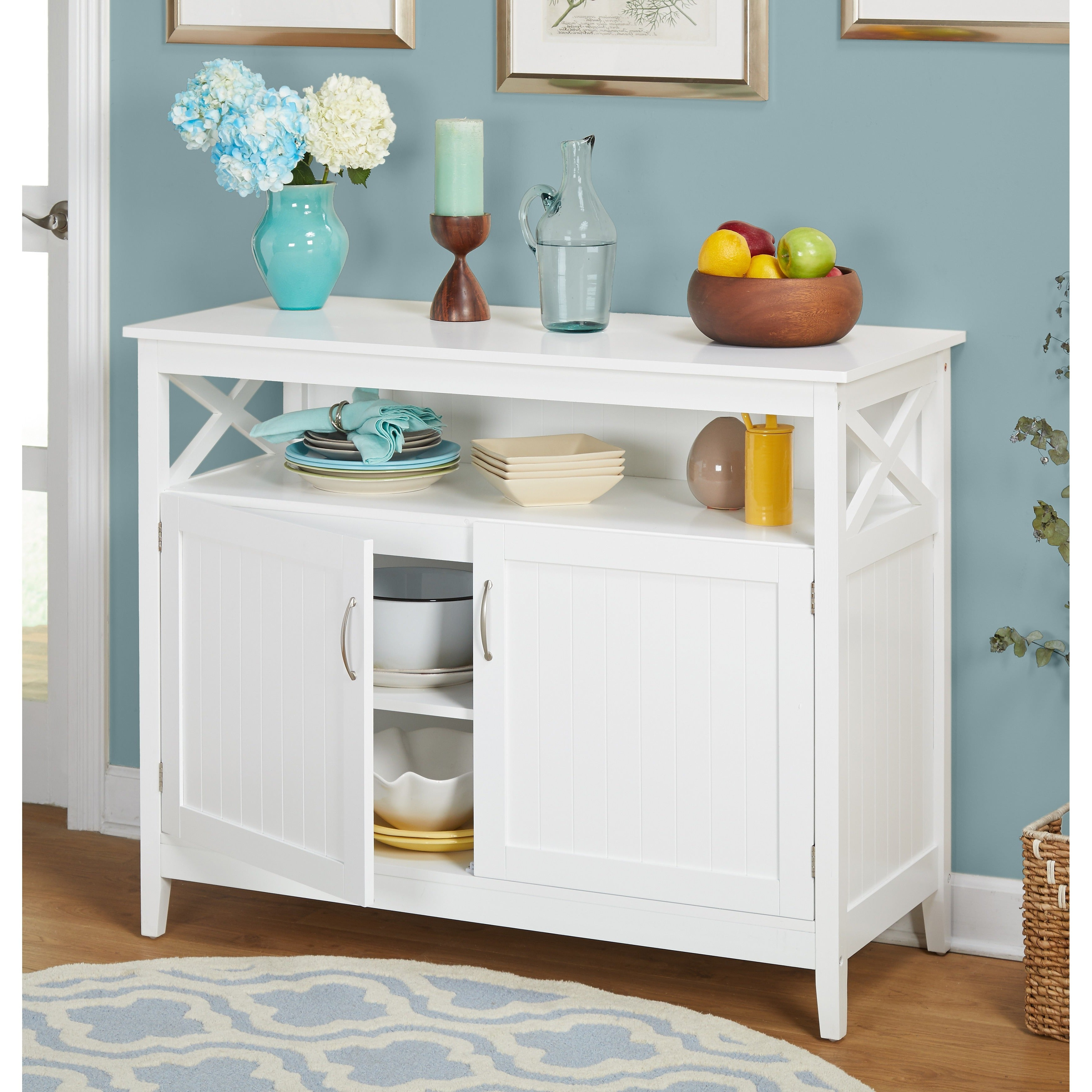 Simple Living Southport White Beadboard Buffet Pertaining To Simple Living Montego Two Door Buffets (View 6 of 20)
