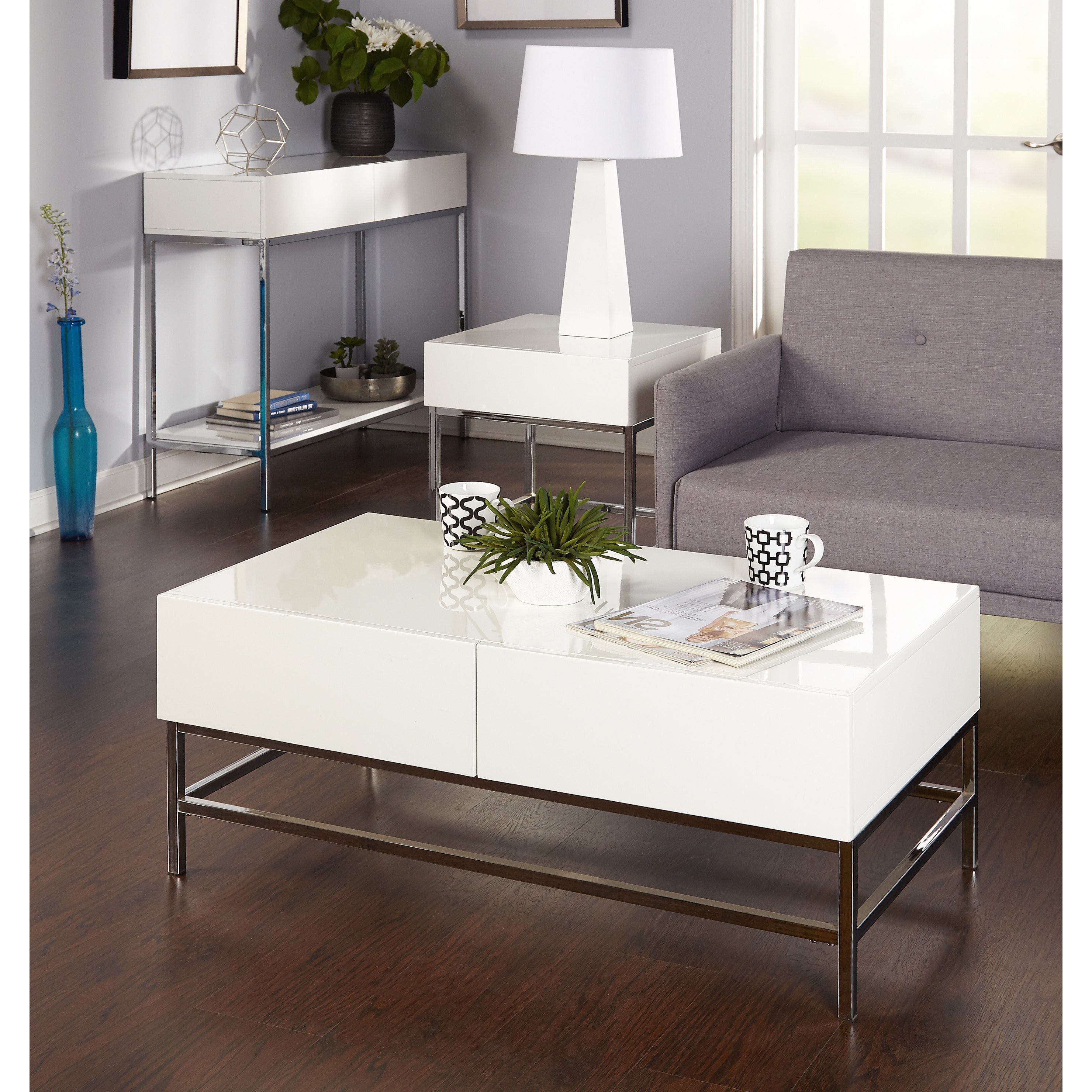 Simple Living White Wood And Chrome Metal High Gloss Console Table For White Wood And Chrome Metal High Gloss Buffets (View 14 of 20)