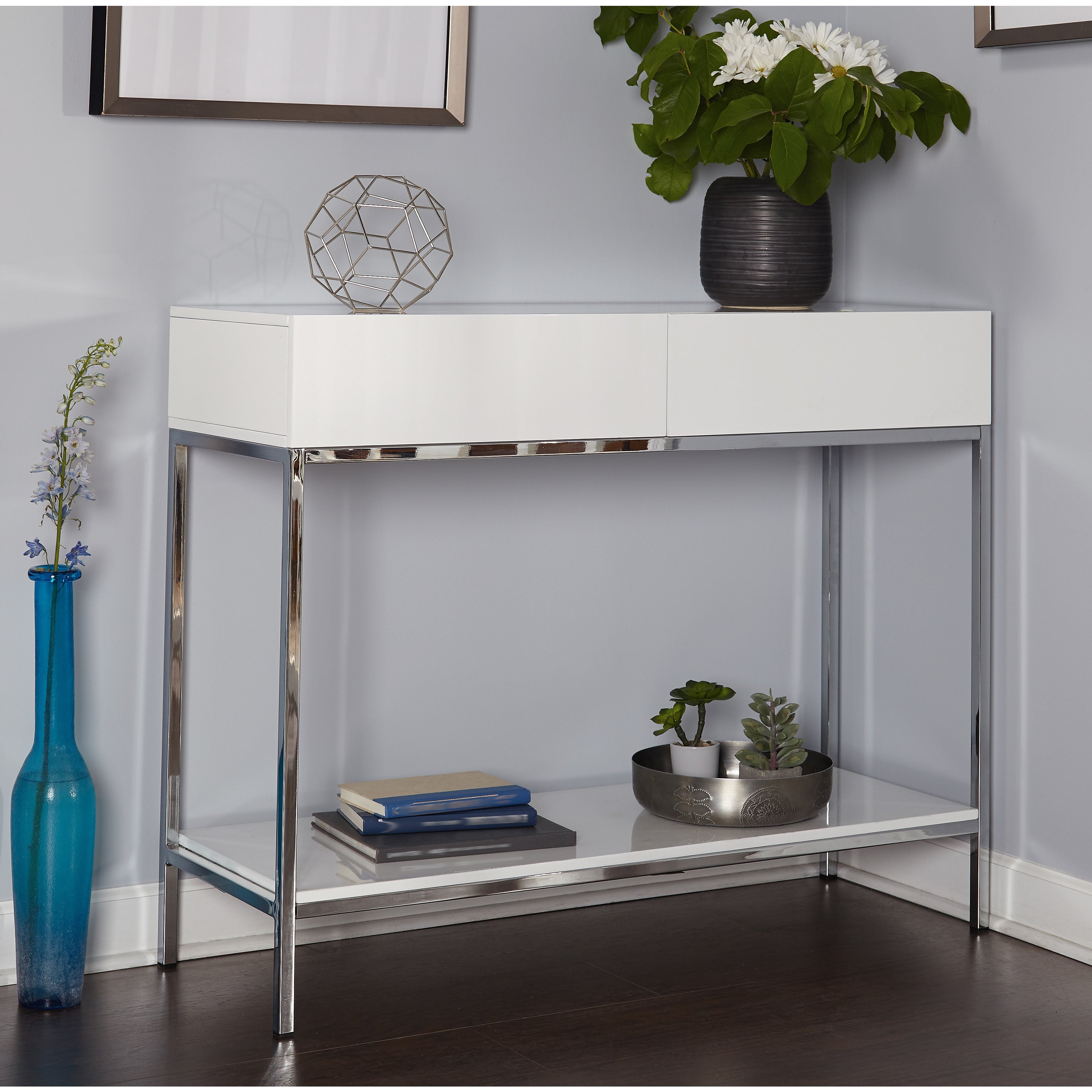 Featured Photo of White Wood And Chrome Metal High Gloss Buffets