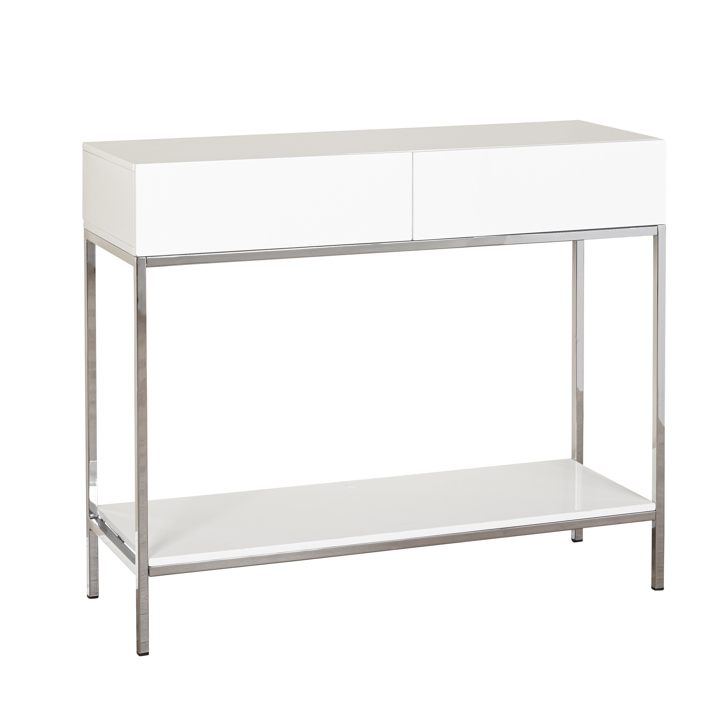 Simple Living White Wood And Chrome Metal High Gloss Console Table Pertaining To White Wood And Chrome Metal High Gloss Buffets (View 2 of 20)