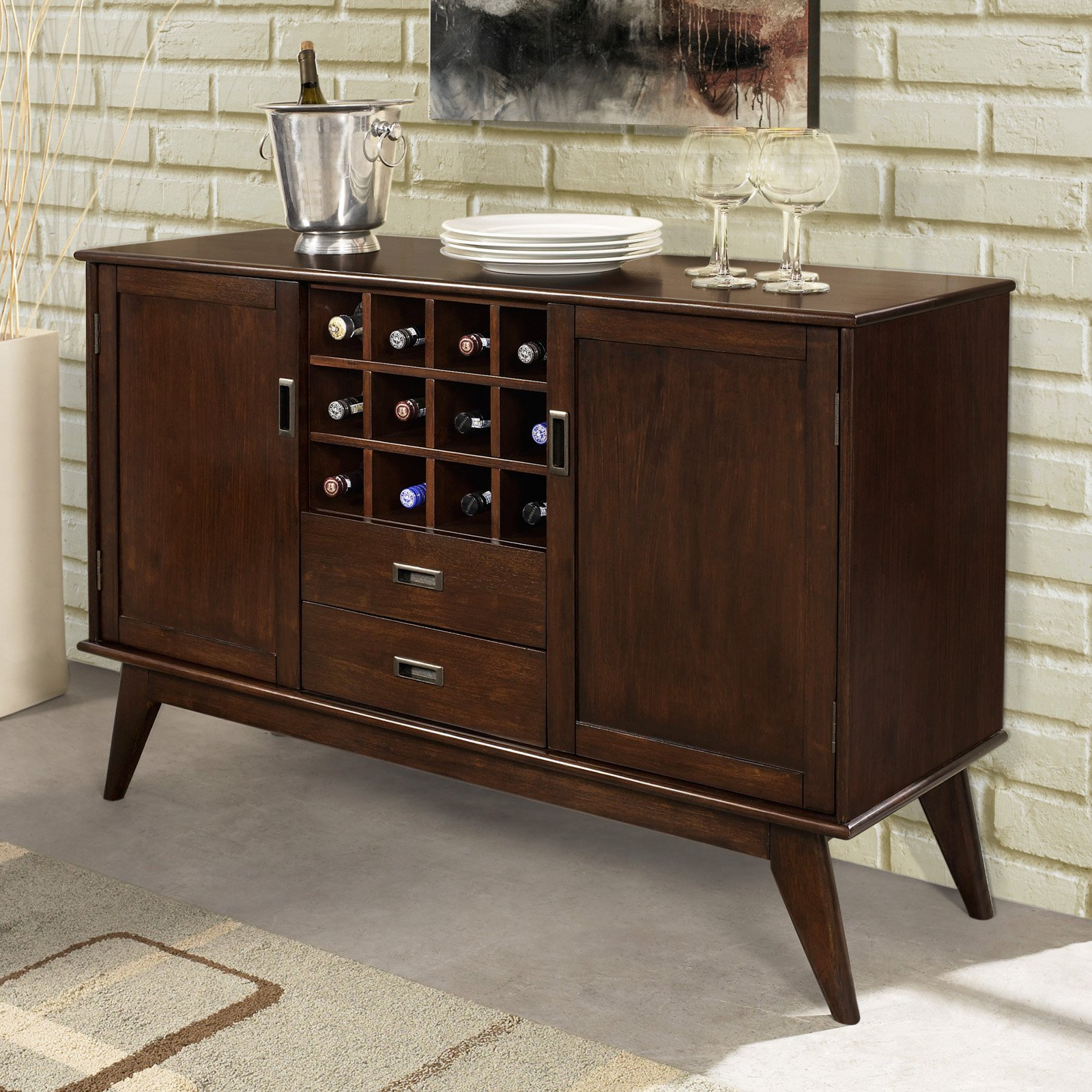 Simpli Home Draper Mid Century Sideboard Buffet & Winerack Within Mid Century Brown Sideboards (View 9 of 20)