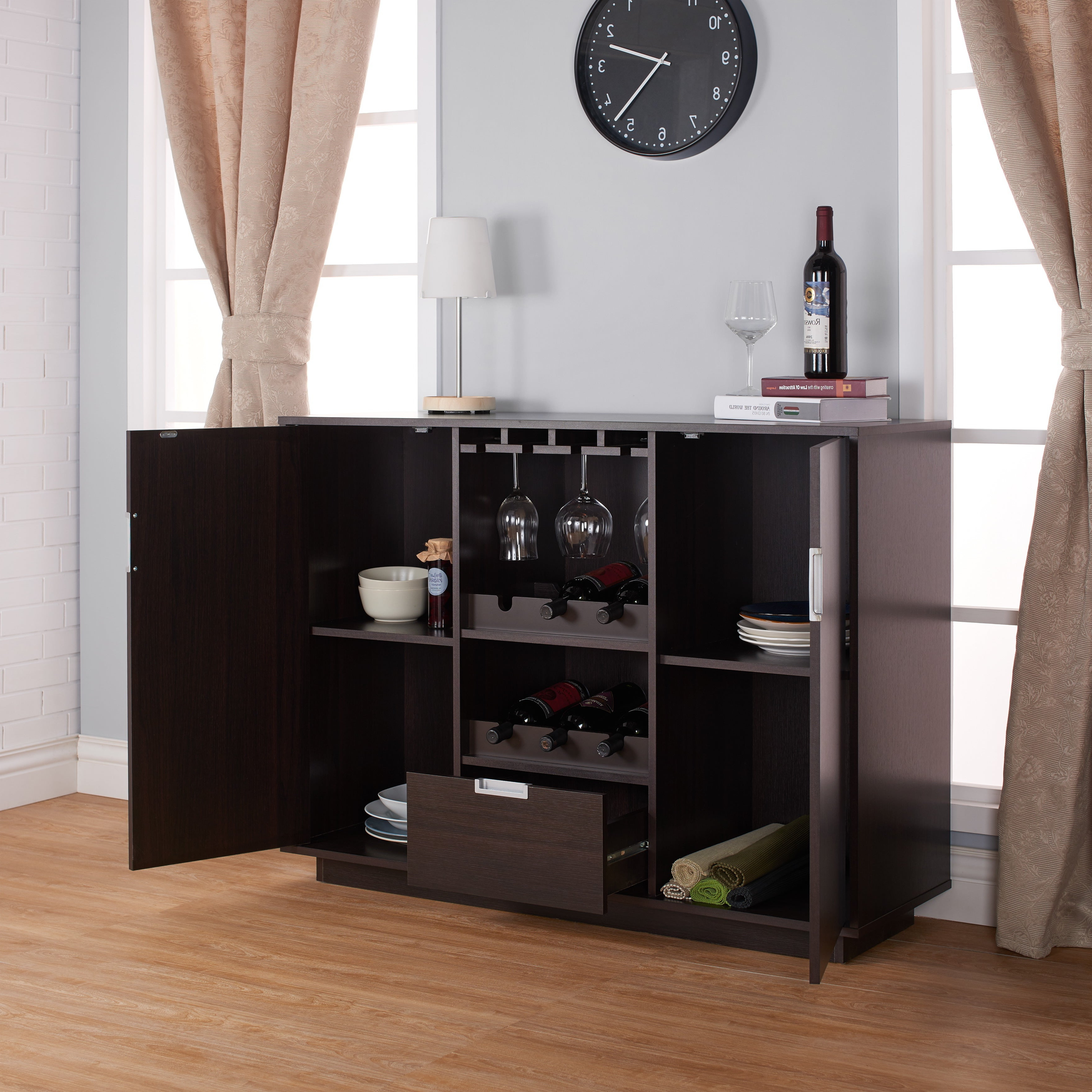 Sivira Contemporary Espresso Dining Buffetfoa With Regard To Buffets With Bottle And Glass Storage (View 13 of 20)
