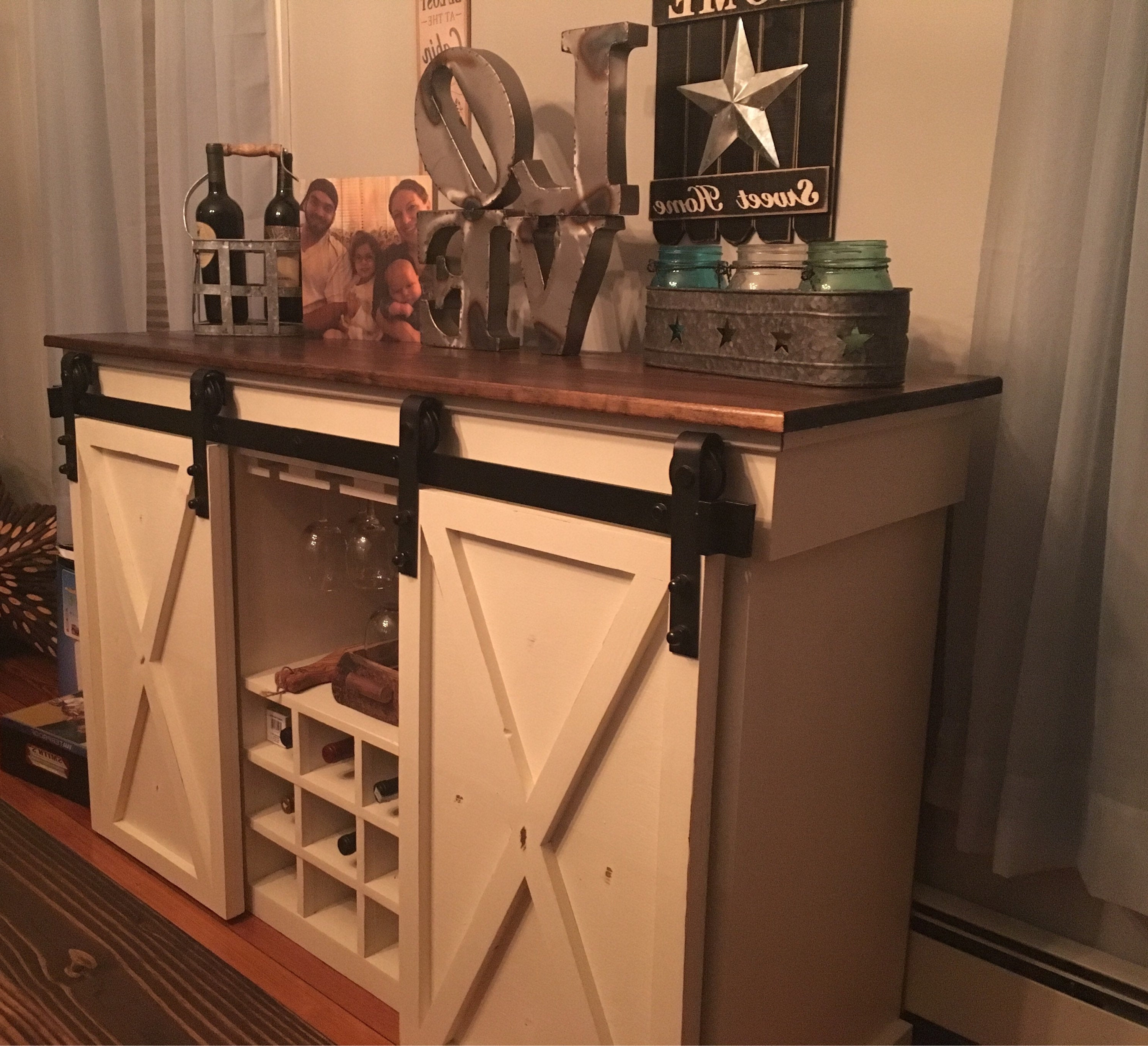 Sliding Barn Door Buffet Cabinet W/wine Storage Within Glass Sliding Door Stackable Buffets (View 16 of 20)