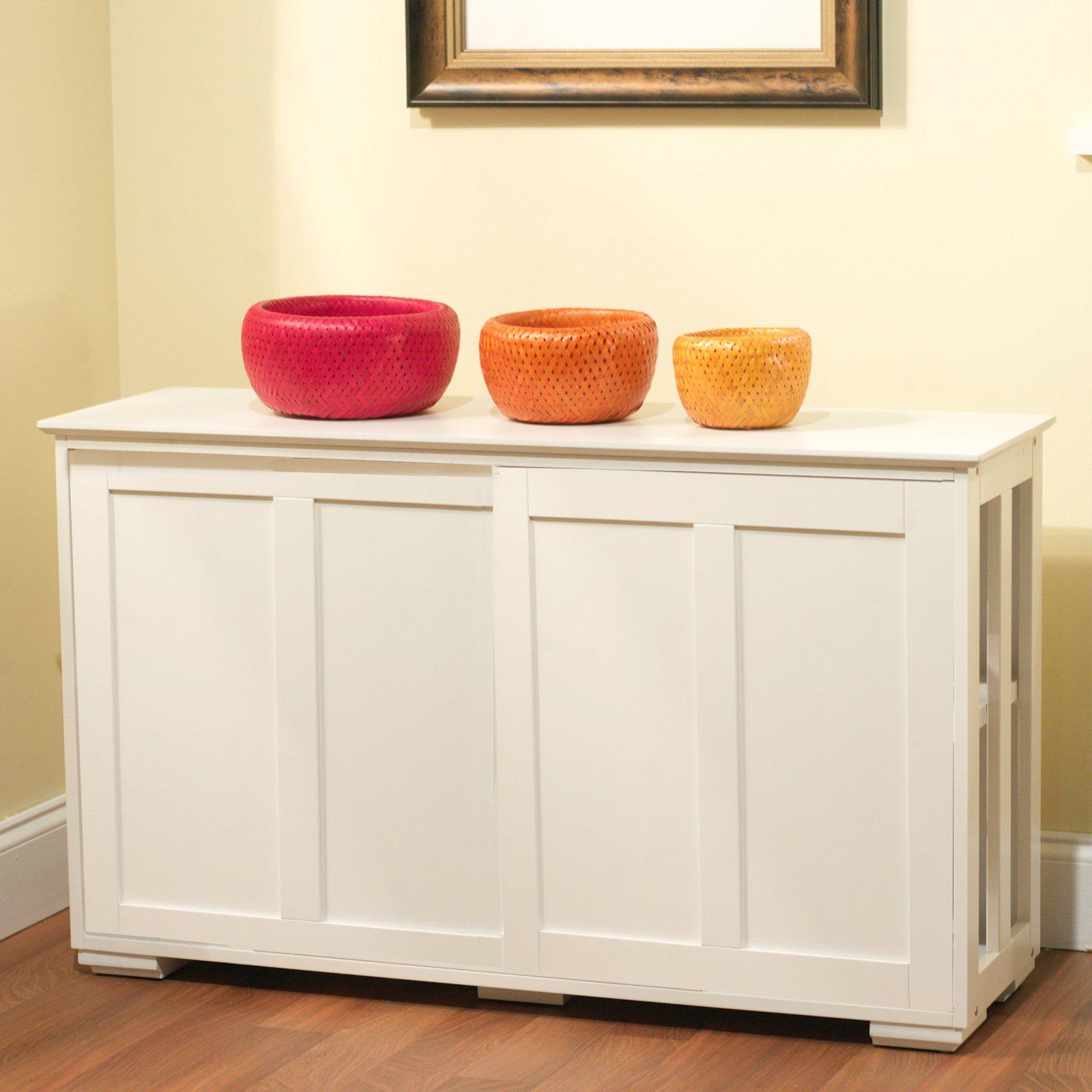 Sliding Wood Doors Stackable Storage Cabinet, Multiple Colors – Walmart Pertaining To Espresso Sliding Door Stackable Buffets (View 18 of 20)