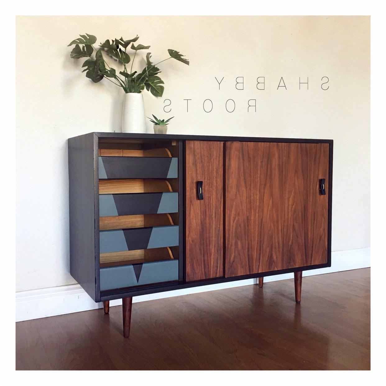 Sold  Mid Century Modern Sliding Door Cabinet Credenza Buffet  Walnut,  Black, Geometric, Retro, Minimalist (View 19 of 20)