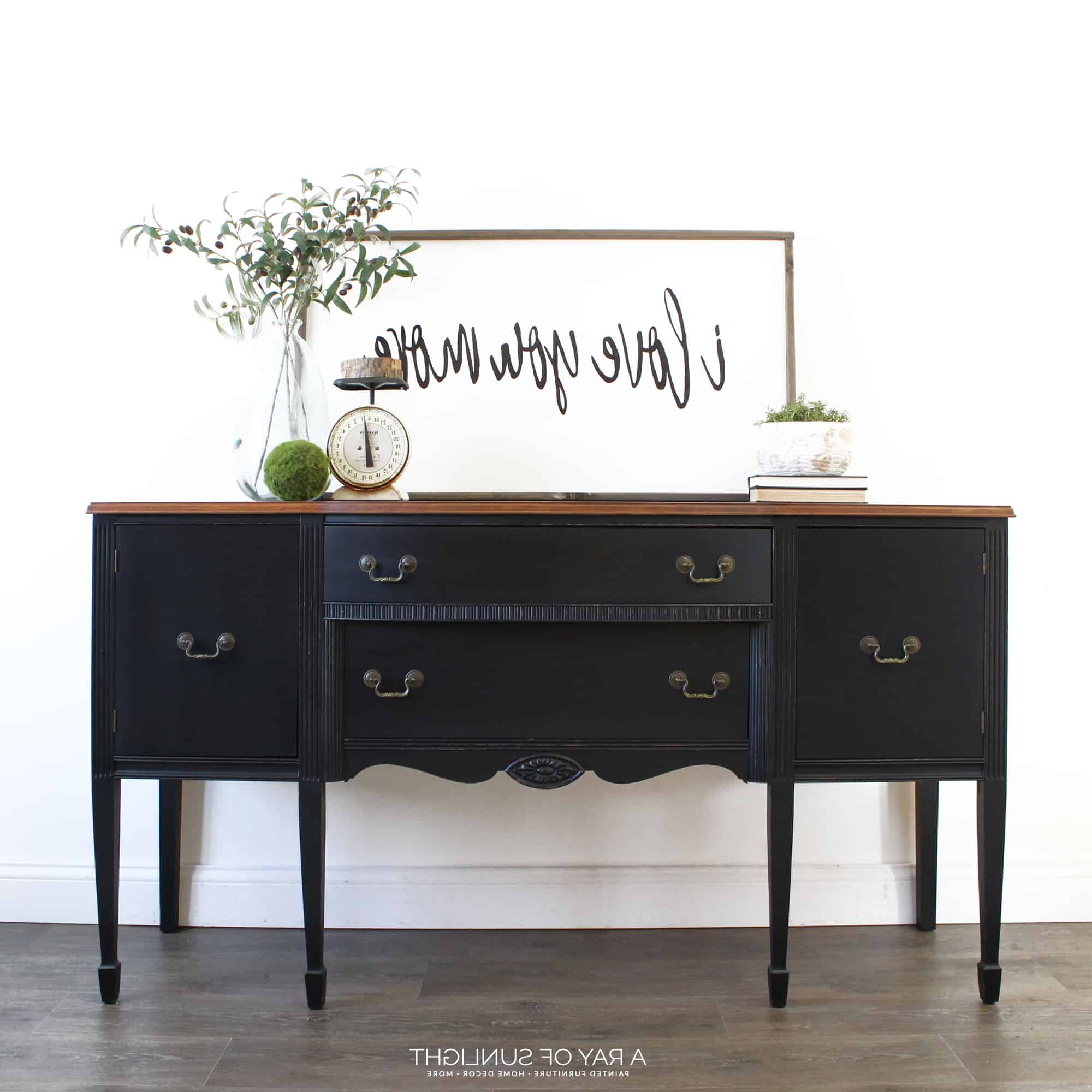 Sold – The Black Buffet – Free Shipping For Rustic Black 2 Drawer Buffets (View 8 of 20)