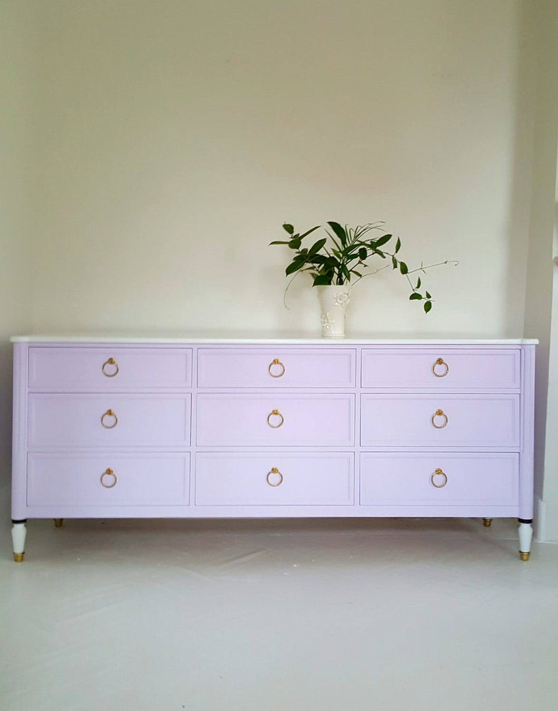 Sold#hollywood Regency Dresser, Credenza, Lavender,white And Gold, Boho, Mid Century With Floral Blush Yellow Credenzas (View 20 of 20)