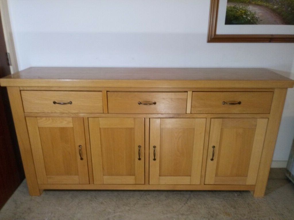 Solid Oak Large Sideboard Wood Cupboard Storage Cabinet 4 Door 3 Drawers  Buffet | In Winchester, Hampshire | Gumtree With 3 Drawer Storage Buffets (View 18 of 20)