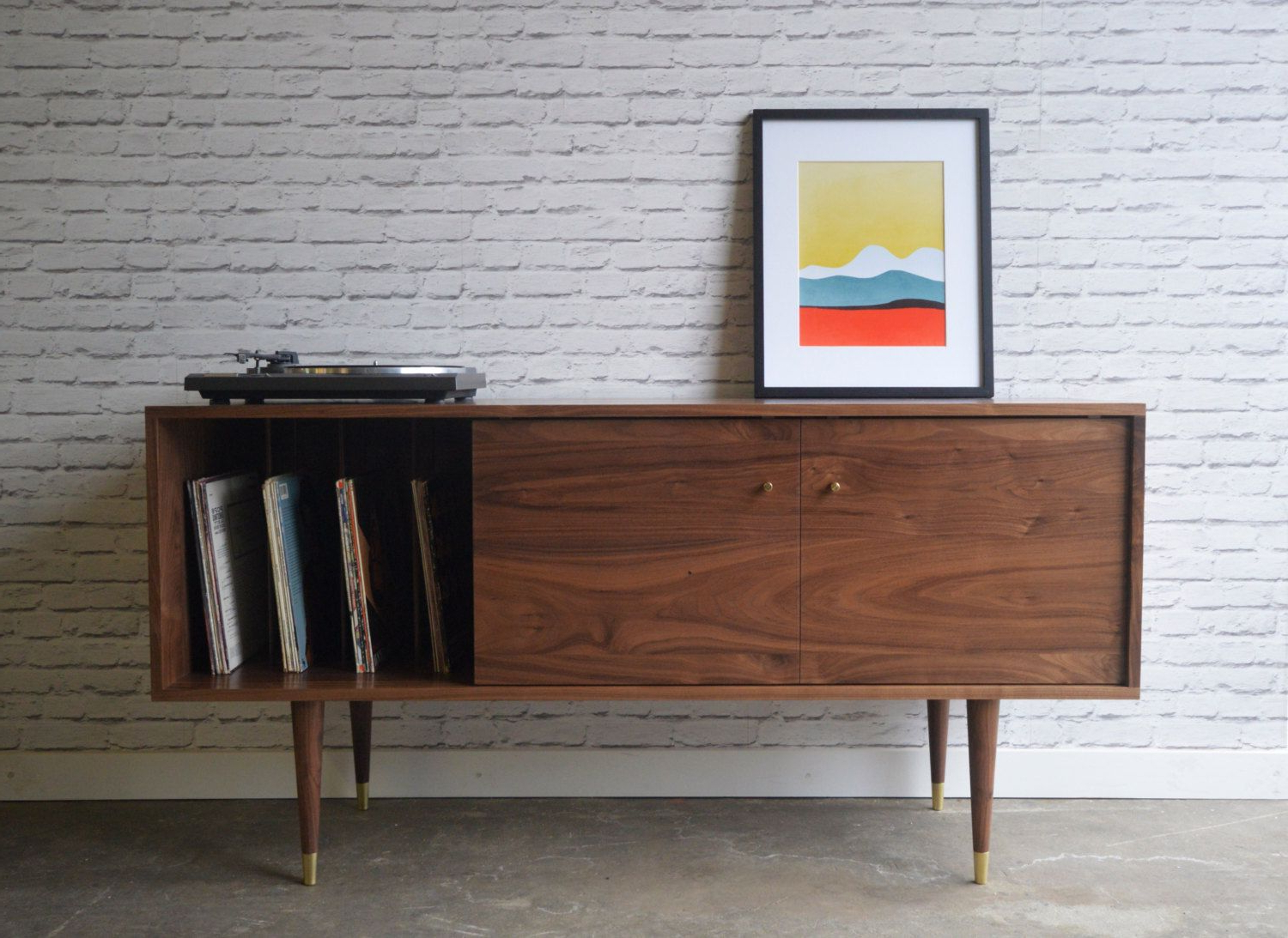 Solid Walnut Media Credenza With Record Storage – Kasse With Regard To Bright Angles Credenzas (View 18 of 20)