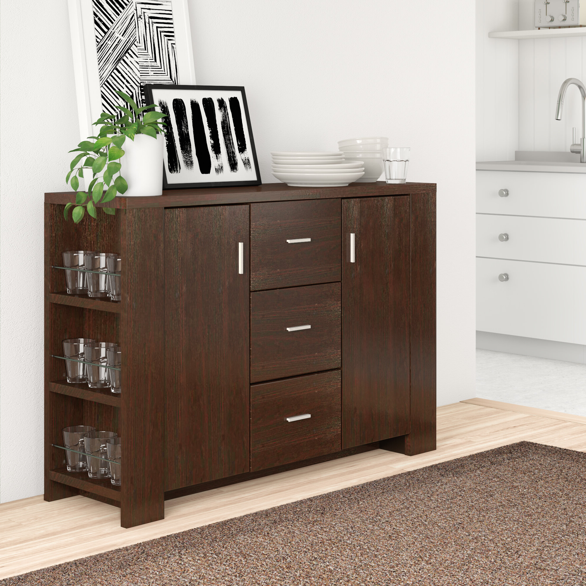 Solid Wood Sideboards & Buffets You'll Love In 2019 | Wayfair Pertaining To Contemporary Style Wooden Buffets With Two Side Door Storage Cabinets (View 18 of 20)