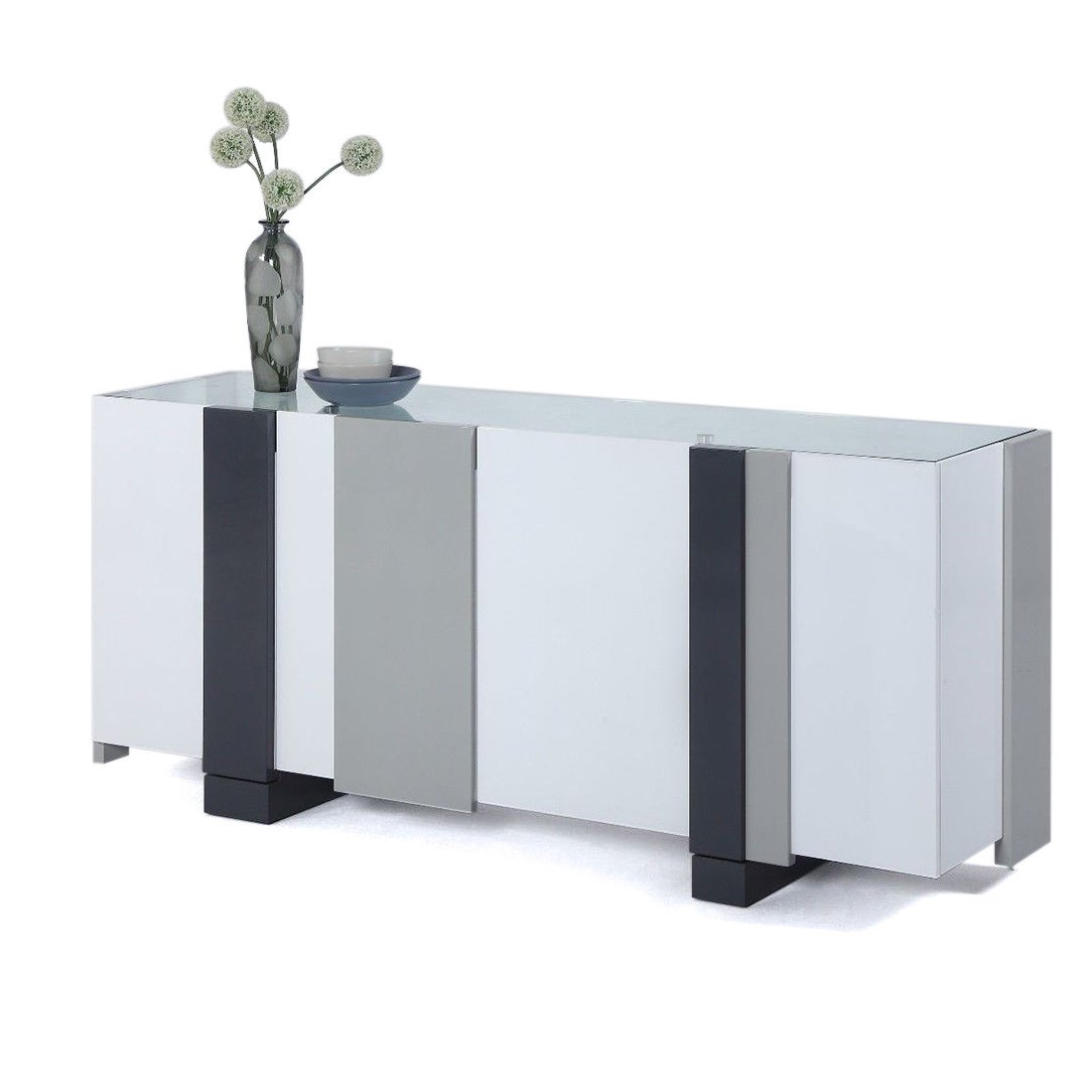 Somette White And Grey Laquered 4 Door Buffet With Glass Top Pertaining To 4 Door Lacquer Buffets (View 17 of 20)