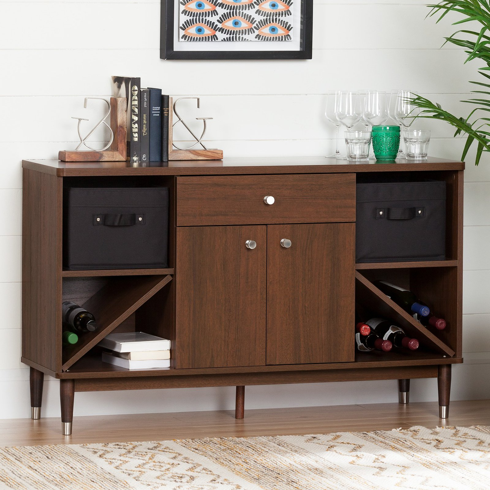 South Shore Olly Mid Century Modern Sideboard Storage Cabinet, Brown Walnut Within Mid Century Brown And Grey Sideboards (View 10 of 20)