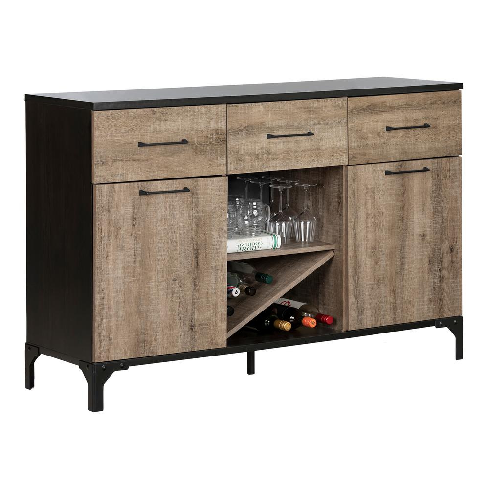 South Shore Valet Weathered Oak And Ebony Buffet 10710 – The For Solid And Composite Wood Buffets In Cappuccino Finish (View 12 of 20)