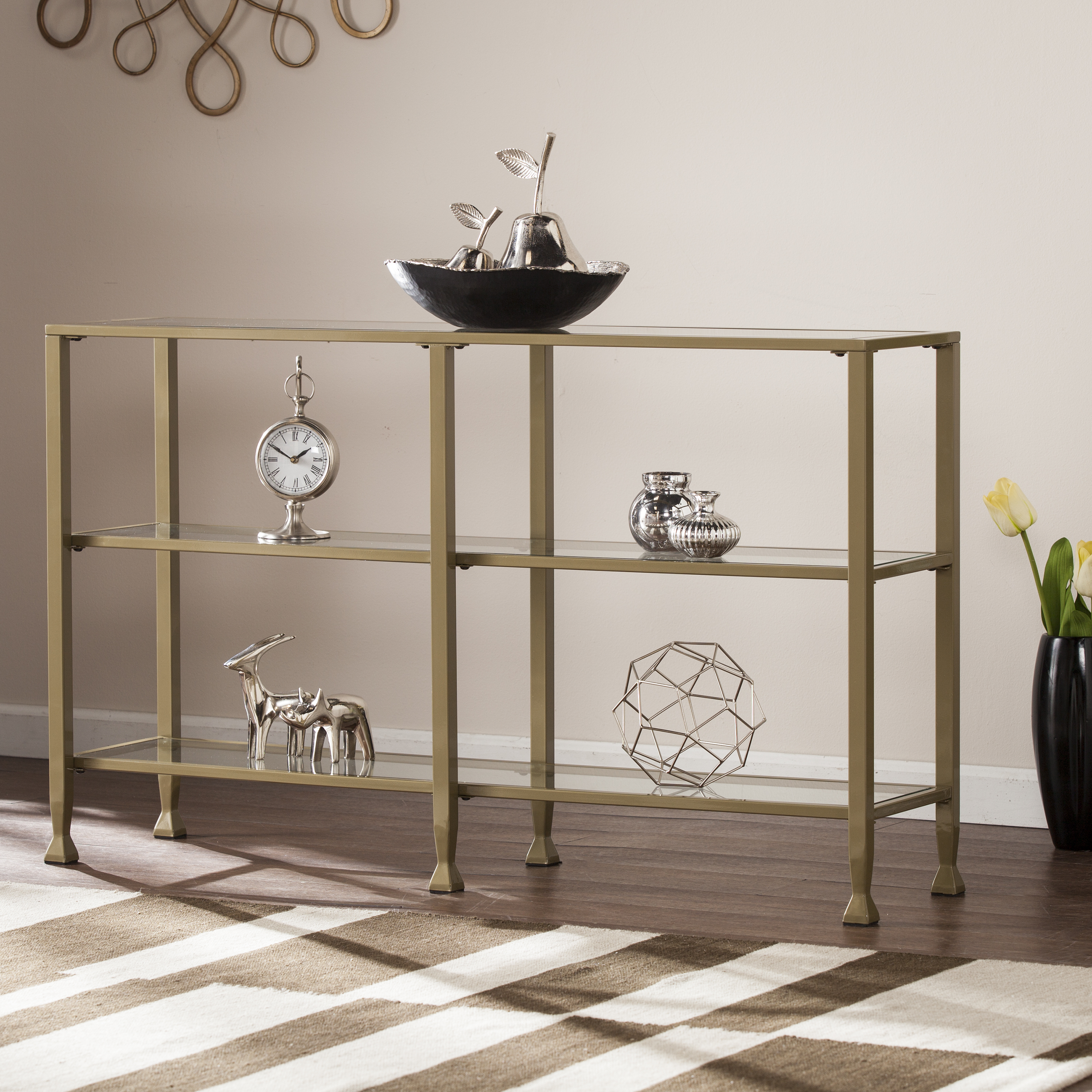 Southern Enterprises Jumpluff Metal/glass 3 Tier Console Table/media Stand Within Contemporary Three Tier Glass Buffets With Black Metal Frame (View 18 of 20)