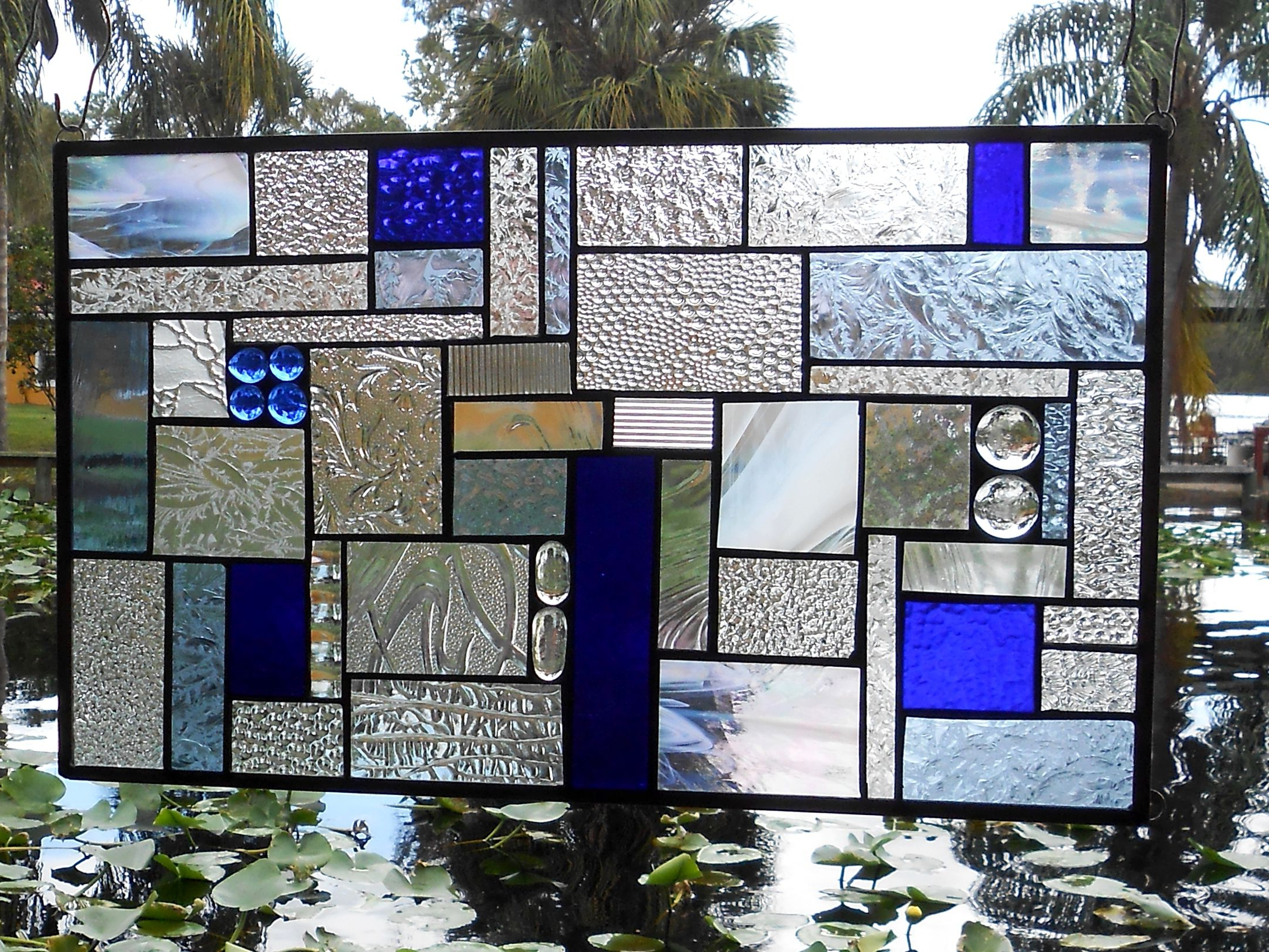 Stained Glass Panel Shades Of Blue Crazy Quilt Patchwork Geometric Stained Glass Window Transom Intended For Blue Stained Glass Credenzas (View 6 of 20)