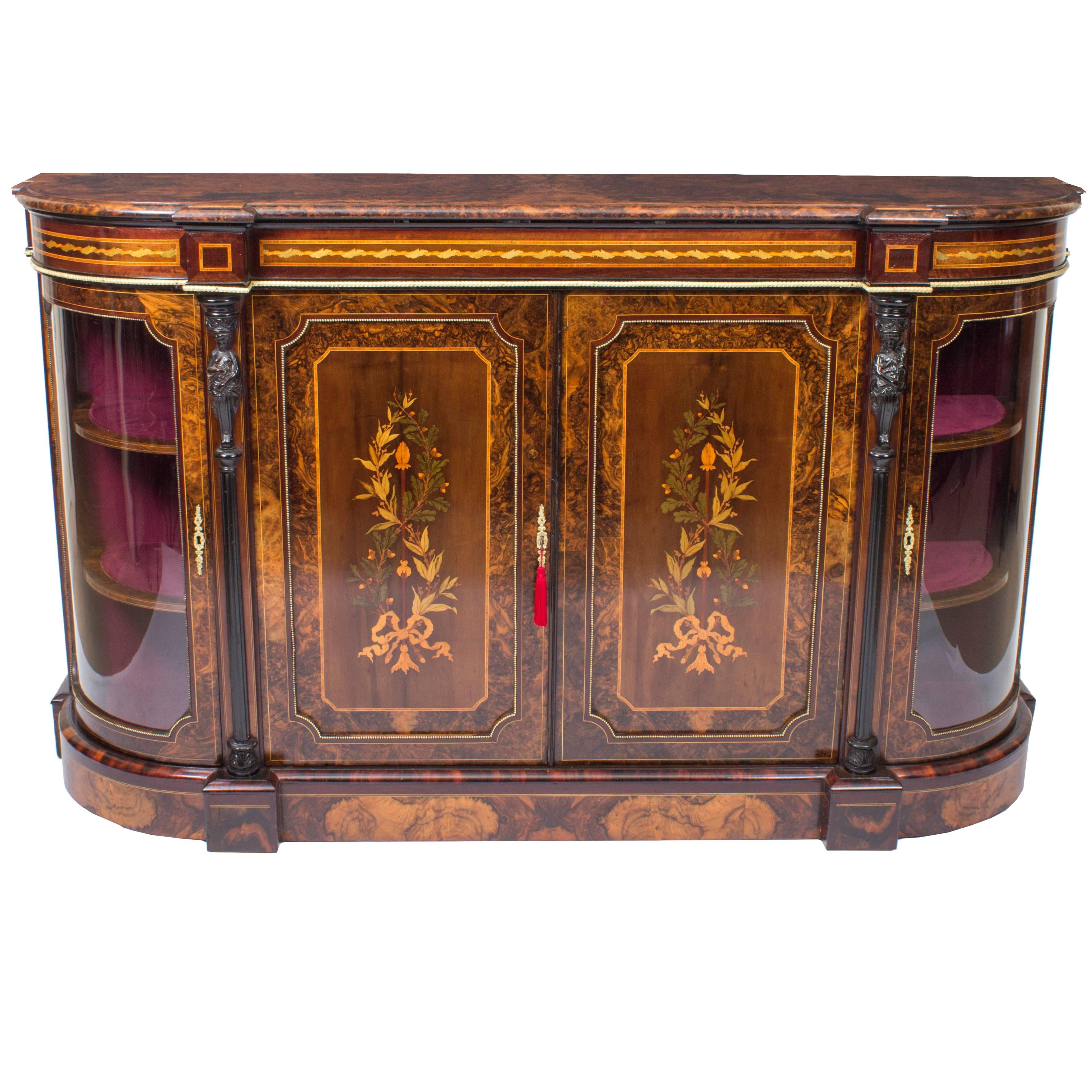 Stunning Quality Burr Walnut And Marquetry Inlaid Victorian Period Credenza For Purple Floral Credenzas (View 17 of 20)