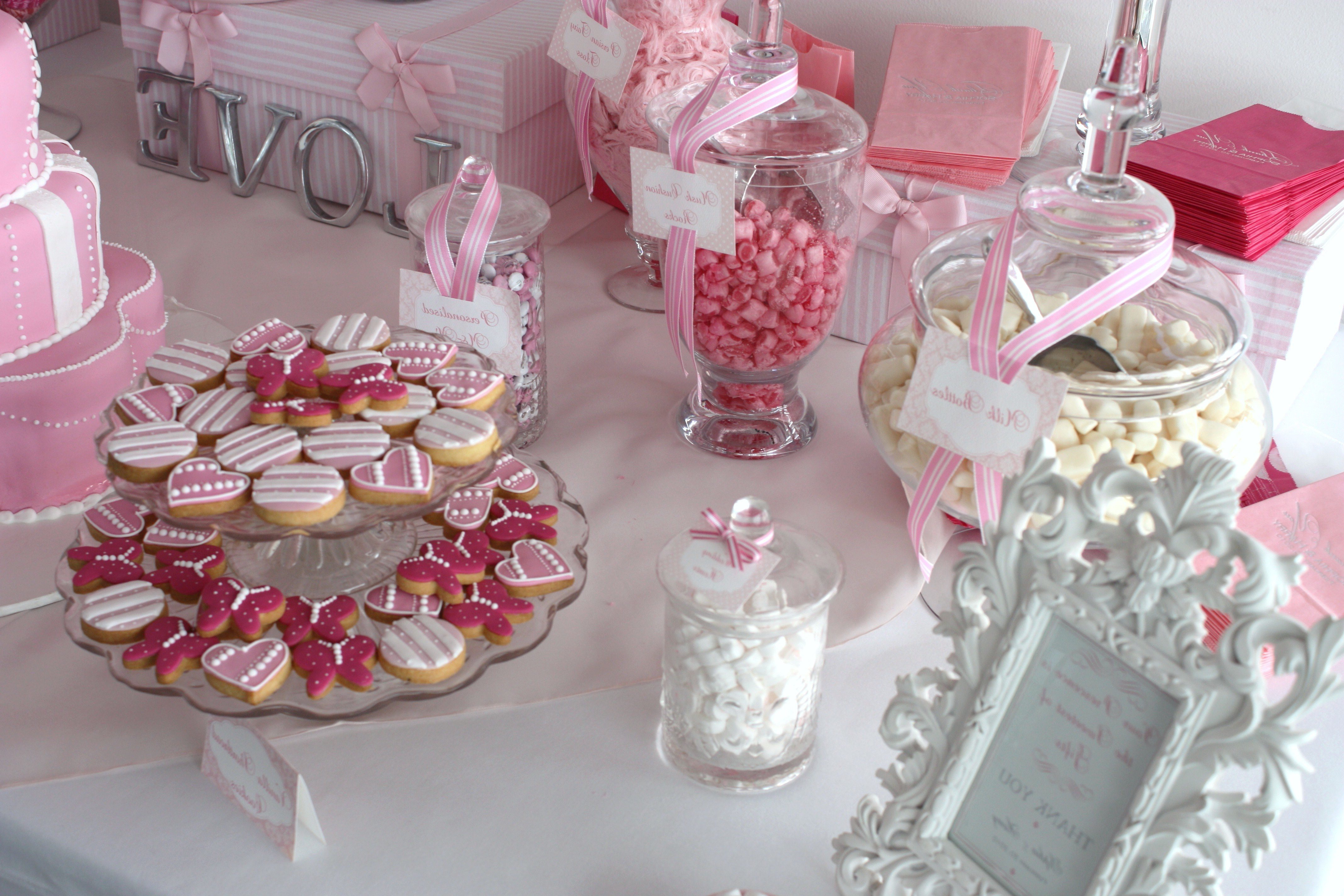 Sugarcoated Pink And White Candy Buffet – The Sweetest Occasion With Regard To Pink And White Geometric Buffets (View 13 of 20)