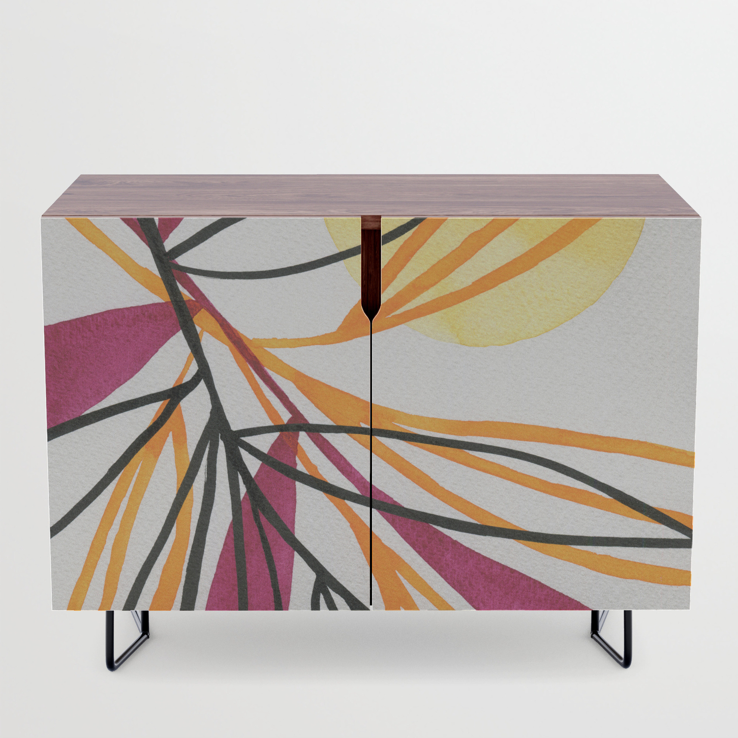 Sun And Leaves Credenza With Regard To Colorful Leaves Credenzas (View 18 of 20)