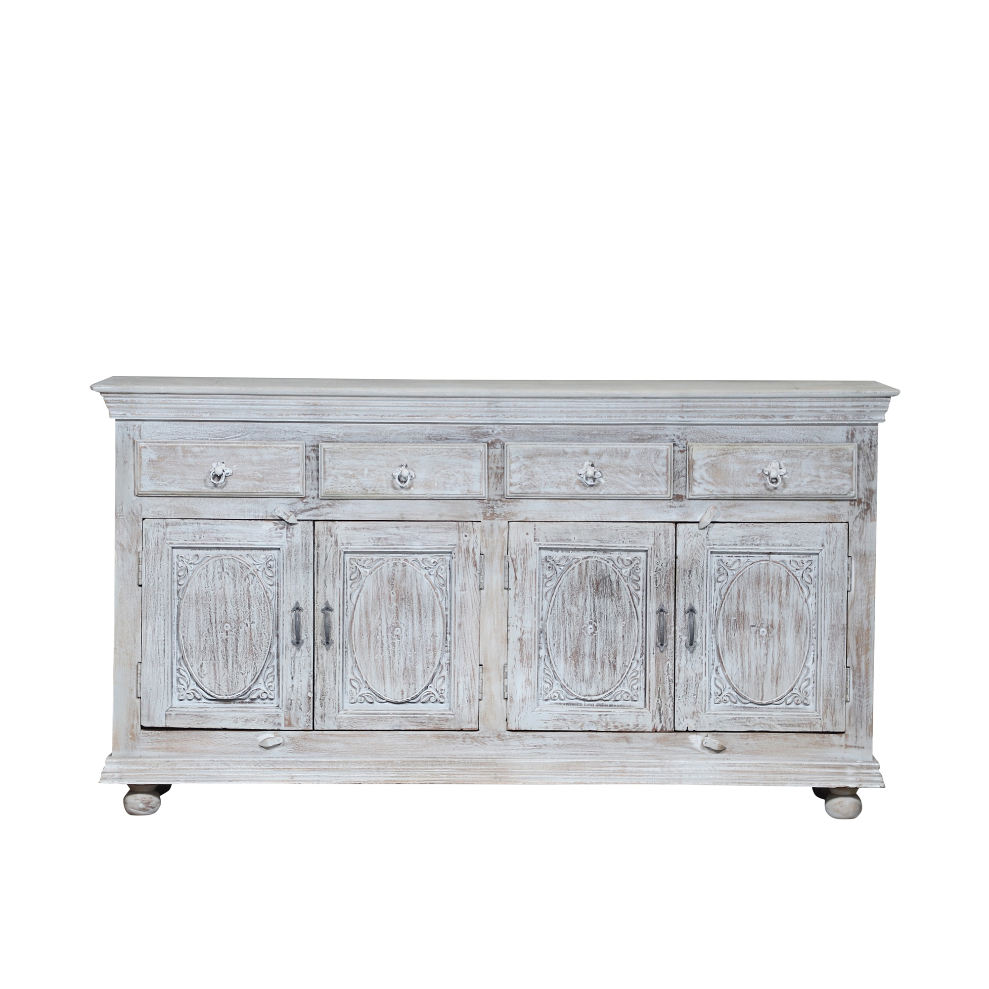 Syracuse White Distress Sideboard Buffets With Drawers In 3 Drawer Black Storage Buffets (View 18 of 20)