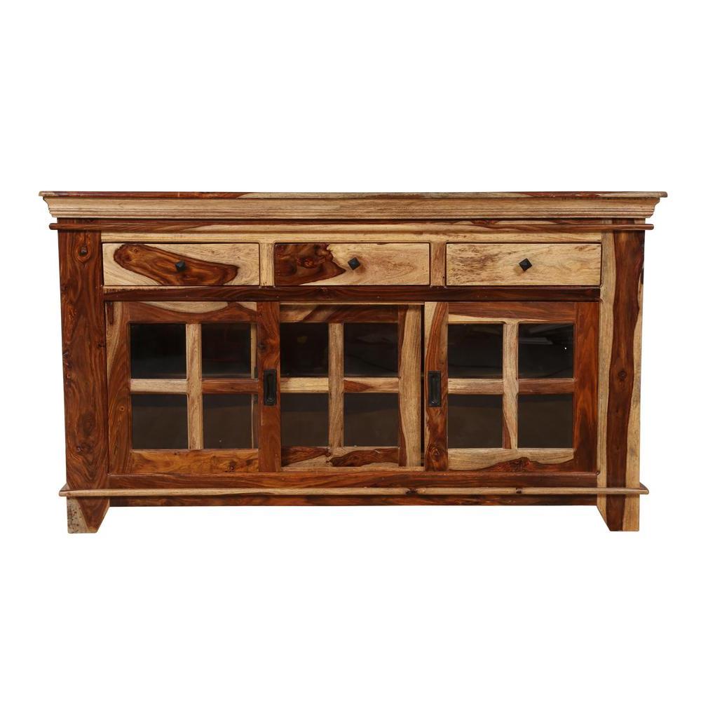 Taos Traditional Solid Sheesham Wood Glass Sliding Door Regarding Vintage Walnut Sliding Door Buffets (View 20 of 20)