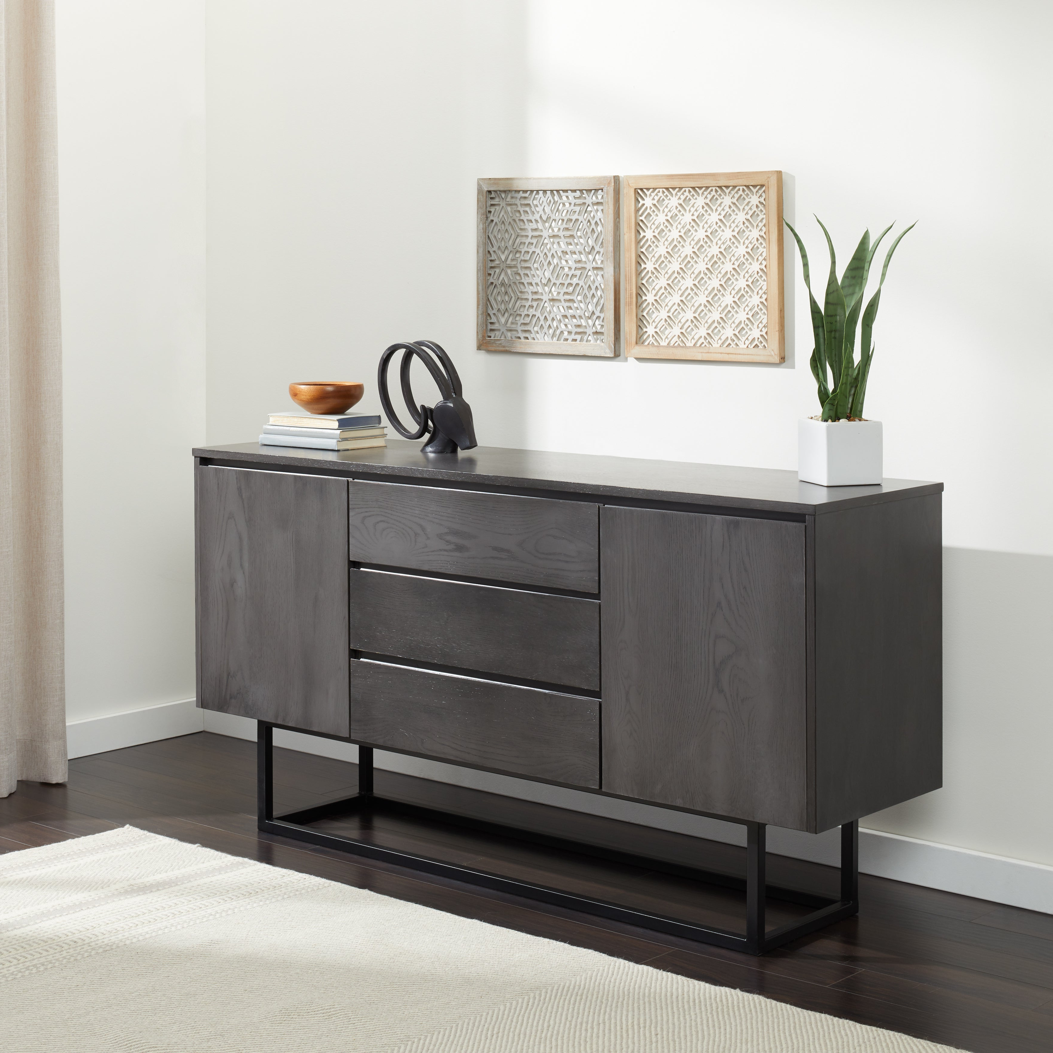 Taylor 2 Door 3 Drawer Charcoal Box Buffet Throughout Modern Lacquer 2 Door 3 Drawer Buffets (View 5 of 20)