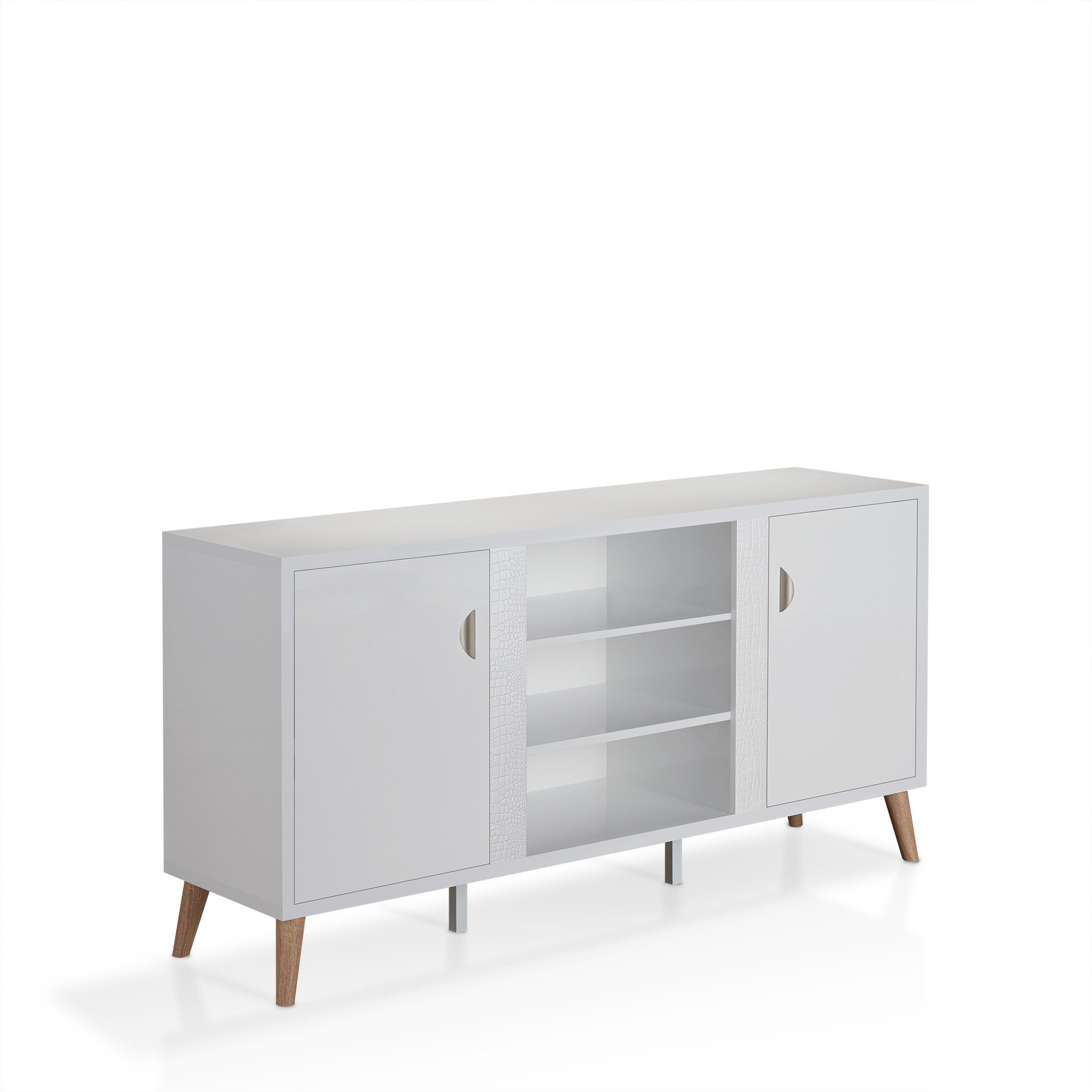 Thaddeus Buffet Table Inside Contemporary Wooden Buffets With Four Open Compartments And Metal Tapered Legs (View 20 of 20)