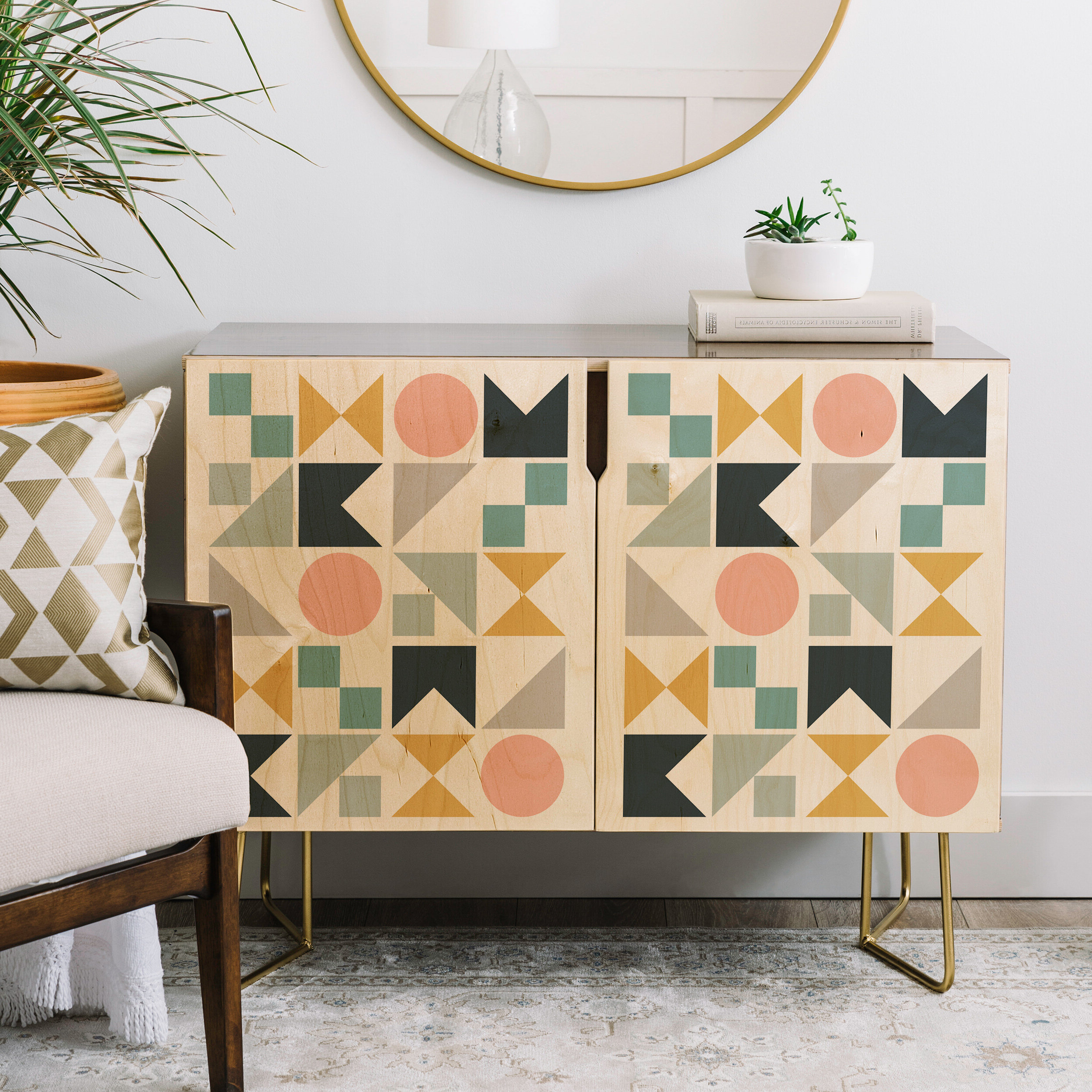 The Old Art Studio Modern Geometric Credenza Within Multi Colored Geometric Shapes Credenzas (View 20 of 20)