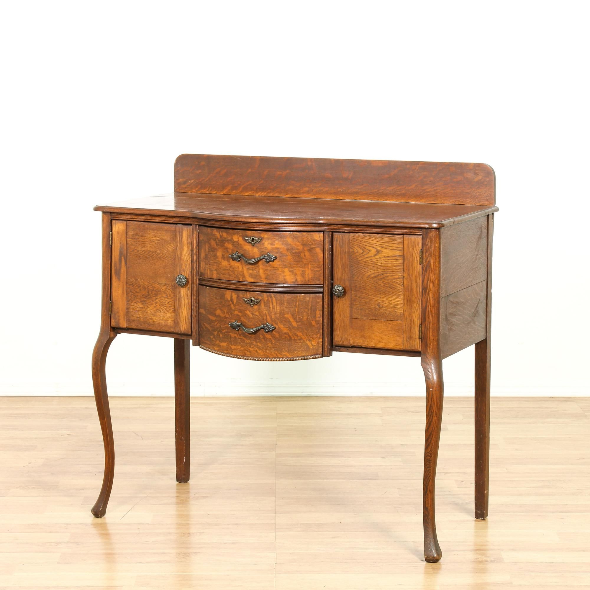 This Antique Sideboard Buffet Is Featured In A Solid Wood For 2 Shelf Buffets With Curved Legs (View 18 of 20)