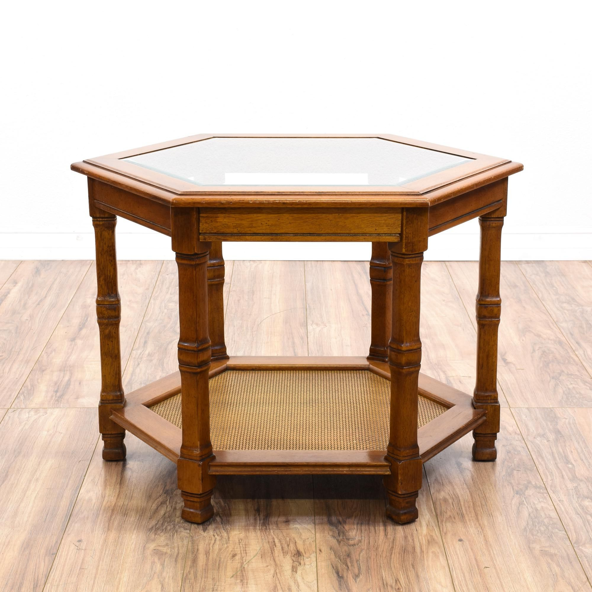 This Hexagon End Table Is Featured In A Solid Wood With A Intended For Solid And Composite Wood Buffets In Cappuccino Finish (View 19 of 20)