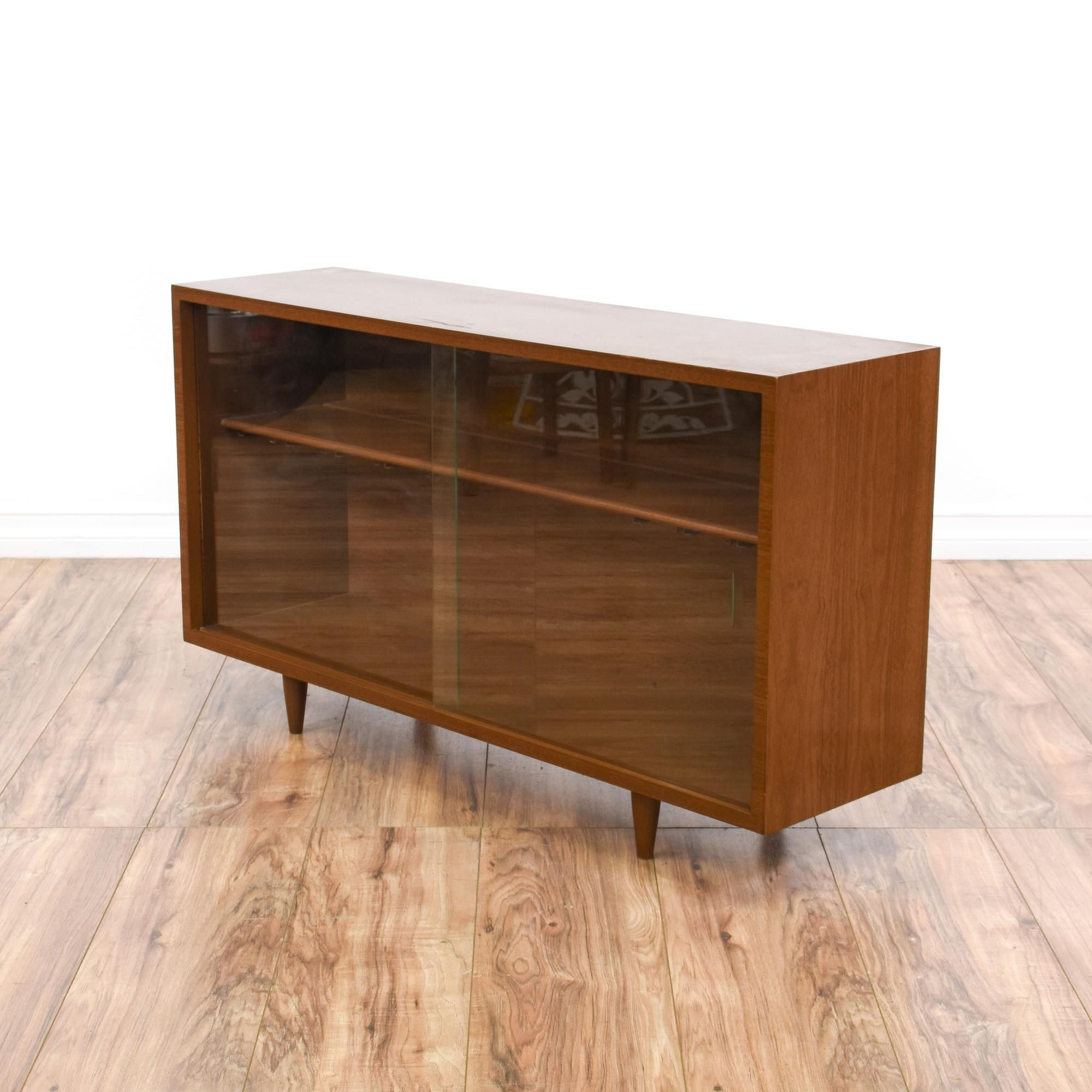 This Low Mid Century Modern Display Case Is Featured In A Regarding Contemporary Wooden Buffets With One Side Door Storage Cabinets And Two Drawers (View 17 of 20)