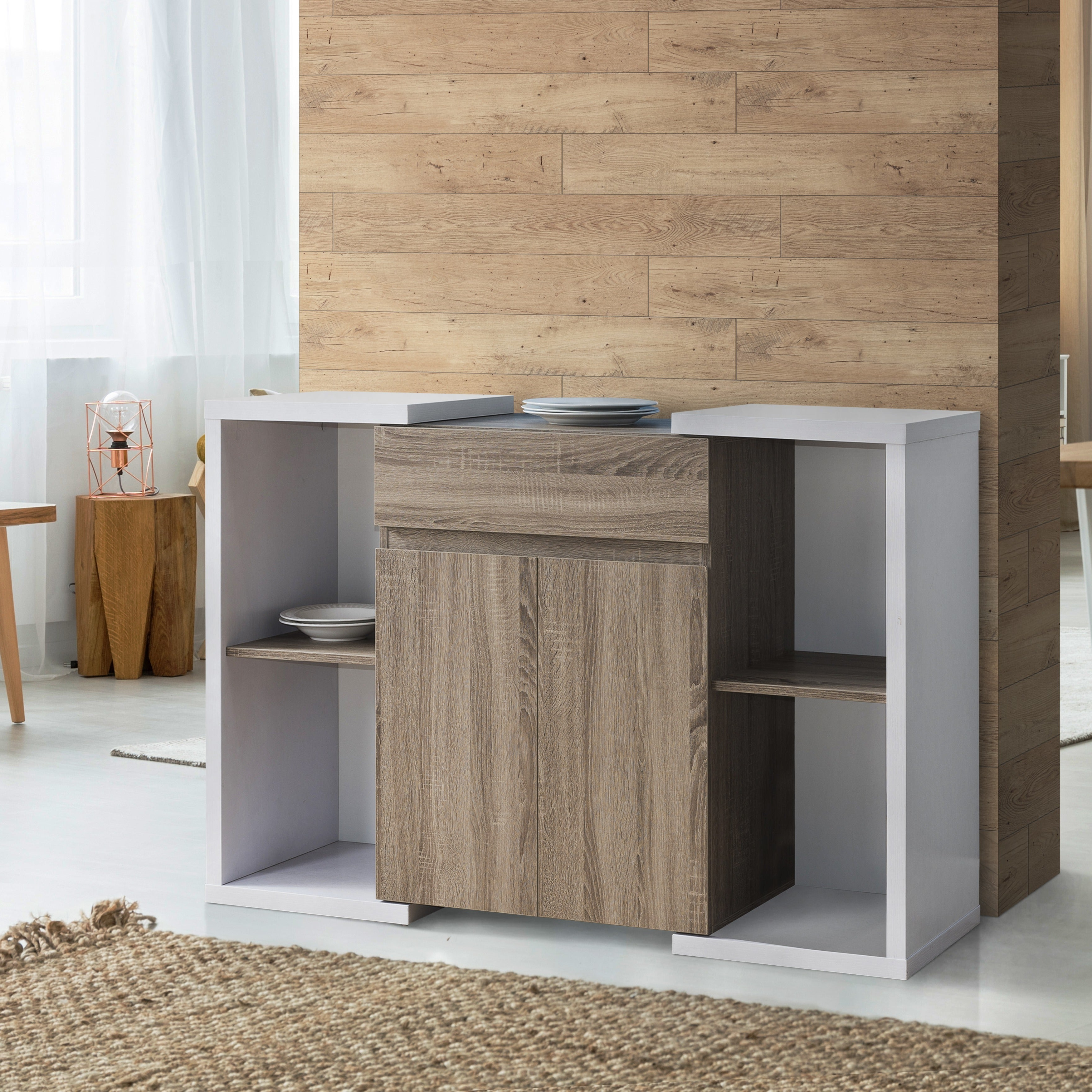 Togal Contemporary White/light Oak Dining Buffetfoa Throughout Togal Contemporary White/light Oak Dining Buffets (View 18 of 20)