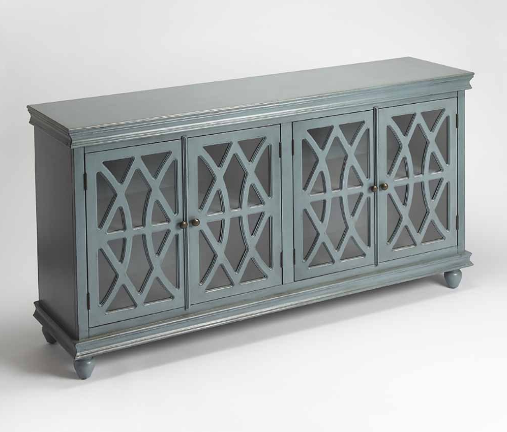 Twilight Blue Sideboard Lattice Cabinet Overlay Butler Inside Simple Living Layla Black Buffets (View 17 of 20)