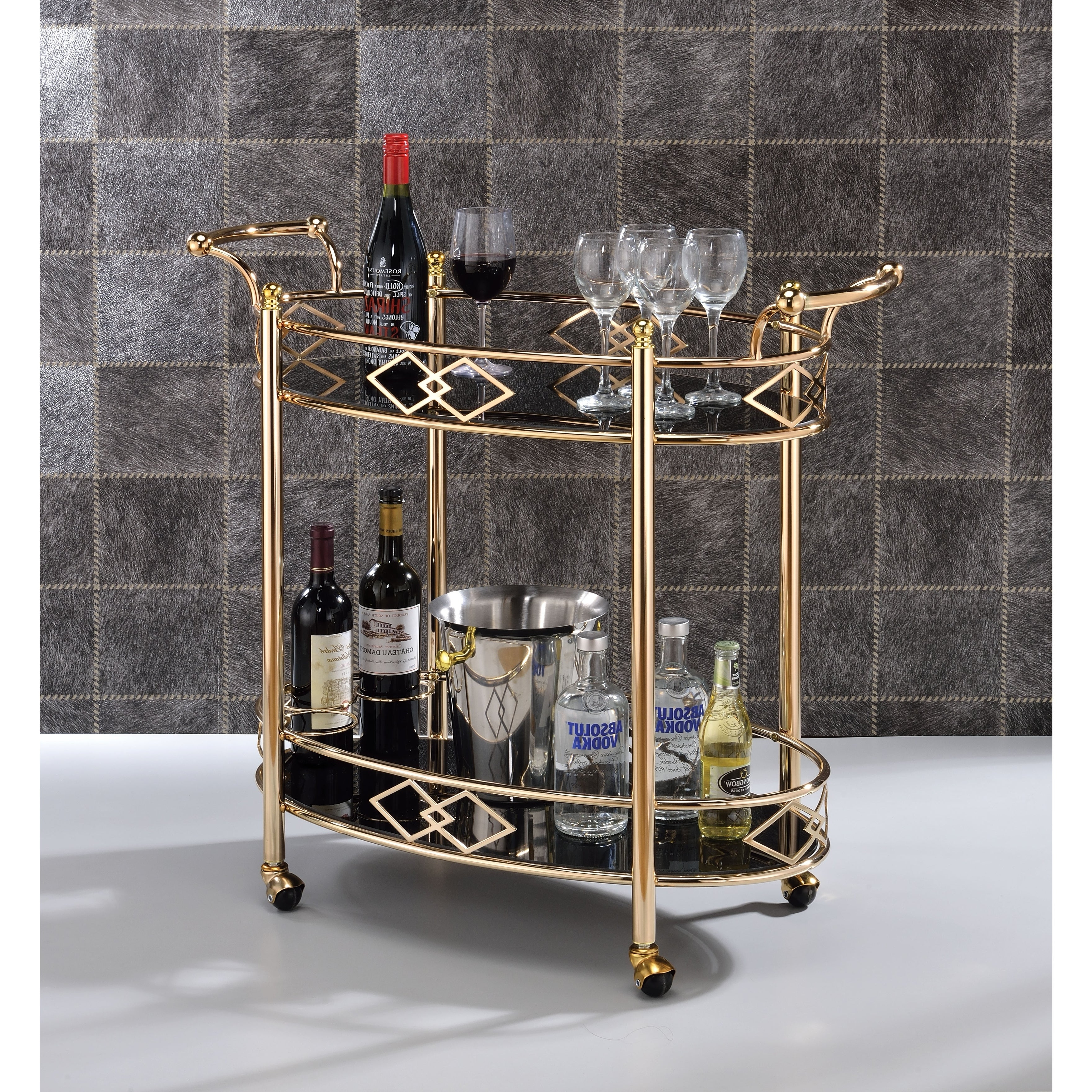Two Tier Metal Framed Serving Cart With Designer Side Rails And Glass  Shelves, Gold And Black Intended For Contemporary Three Tier Glass Buffets With Black Metal Frame (View 19 of 20)