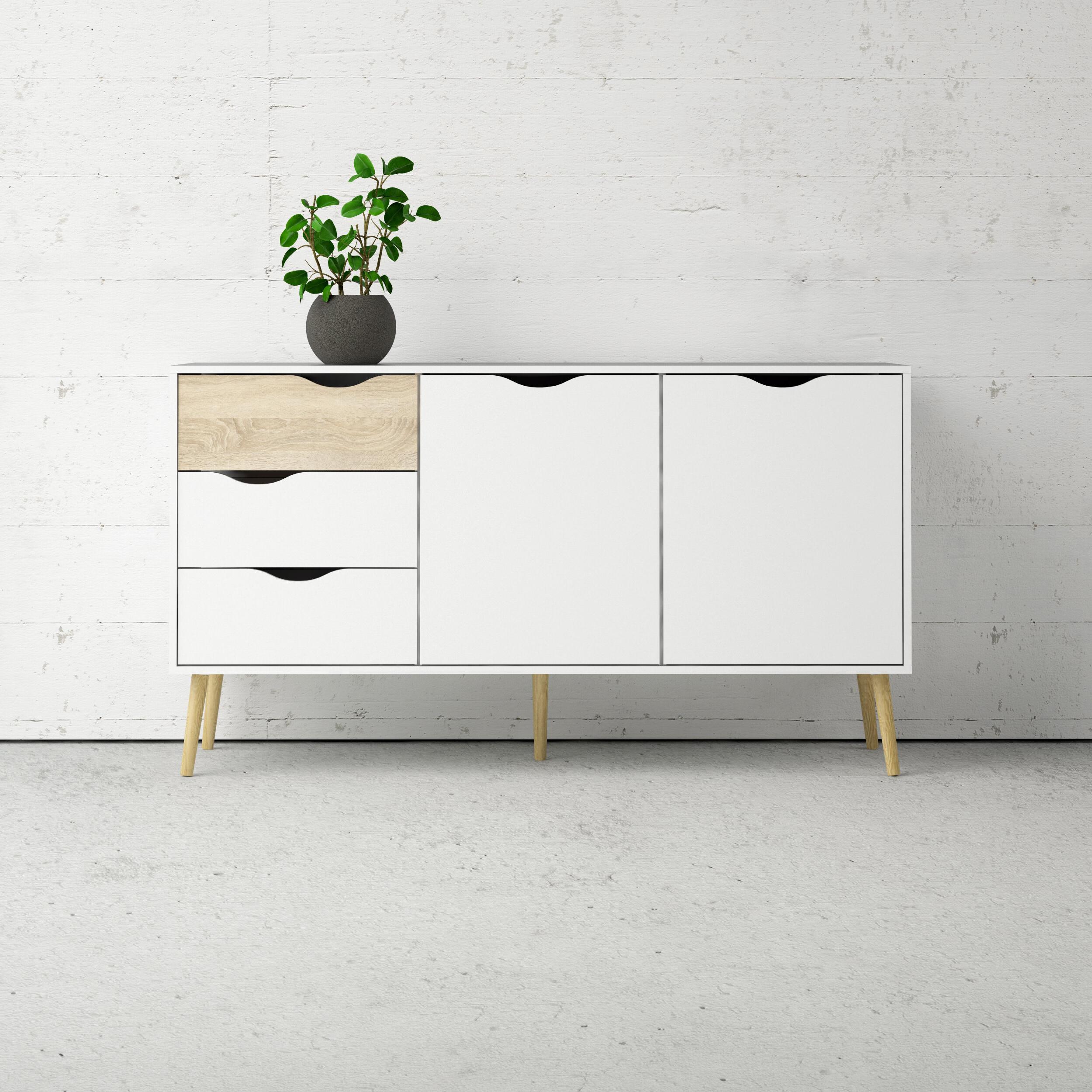 Two Tone Sideboard | Wayfair Inside Light White Oak Two Tone Modern Buffets (View 13 of 20)