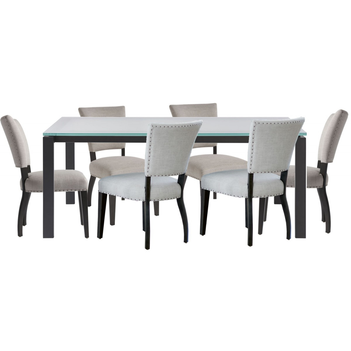 Universal Furniture Spaces Hamilton 7Pc Dining Table Set  Frosted Glass  Top#732 With Regard To Madison Park Rachel Grey Media Credenzas (View 19 of 20)