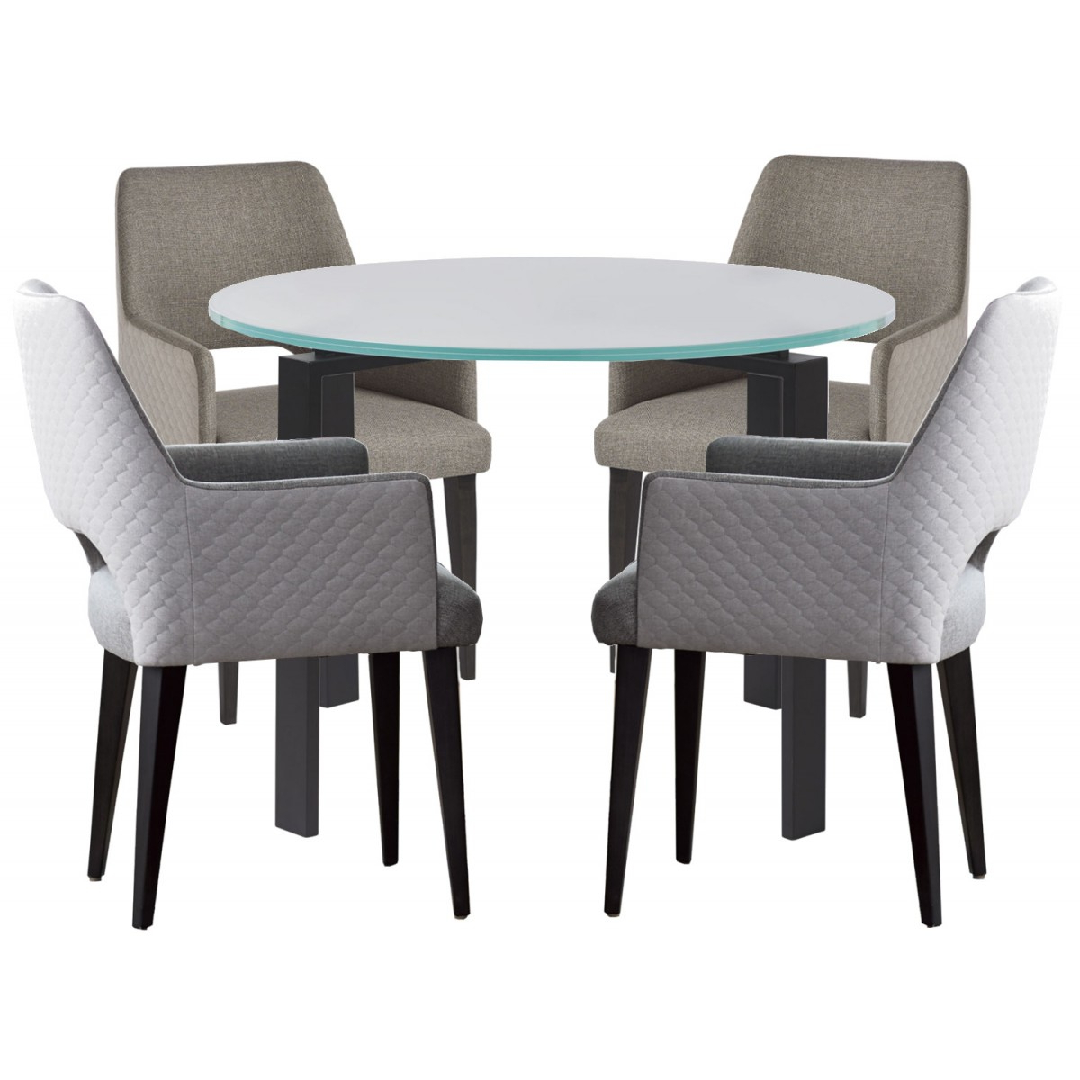Universal Furniture Spaces Marshall 5Pc Dining Table Set  Frosted Glass Top Inside Madison Park Rachel Grey Media Credenzas (View 20 of 20)
