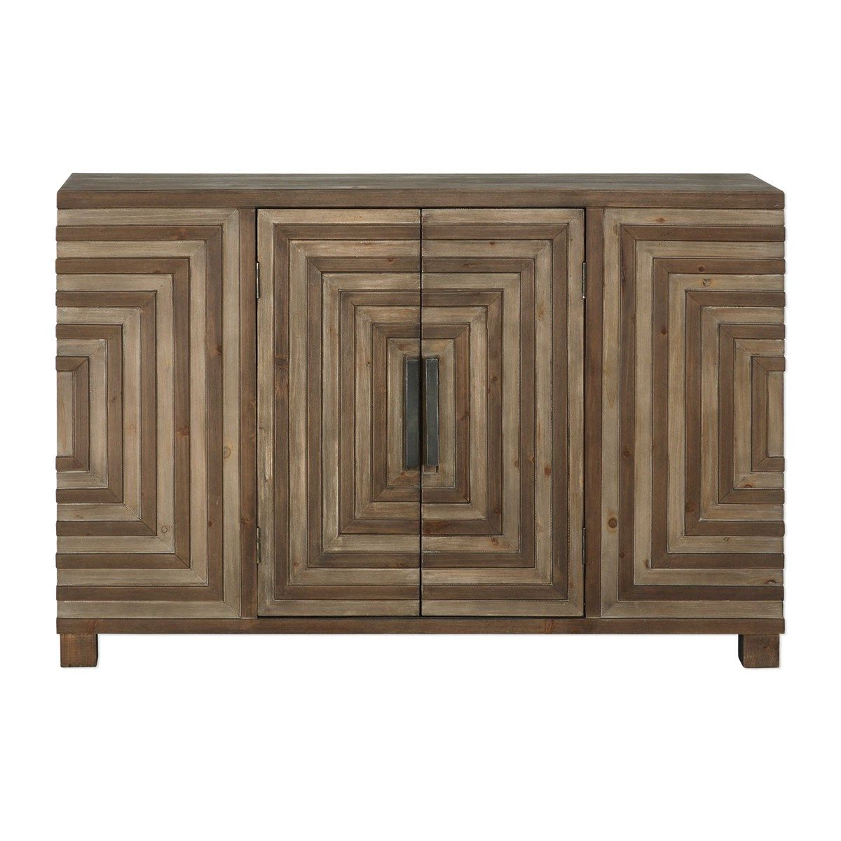 Uttermost Layton Geometric Console Cabinet | Graverson Ideas Regarding Blue Hexagons And Diamonds Credenzas (View 20 of 20)