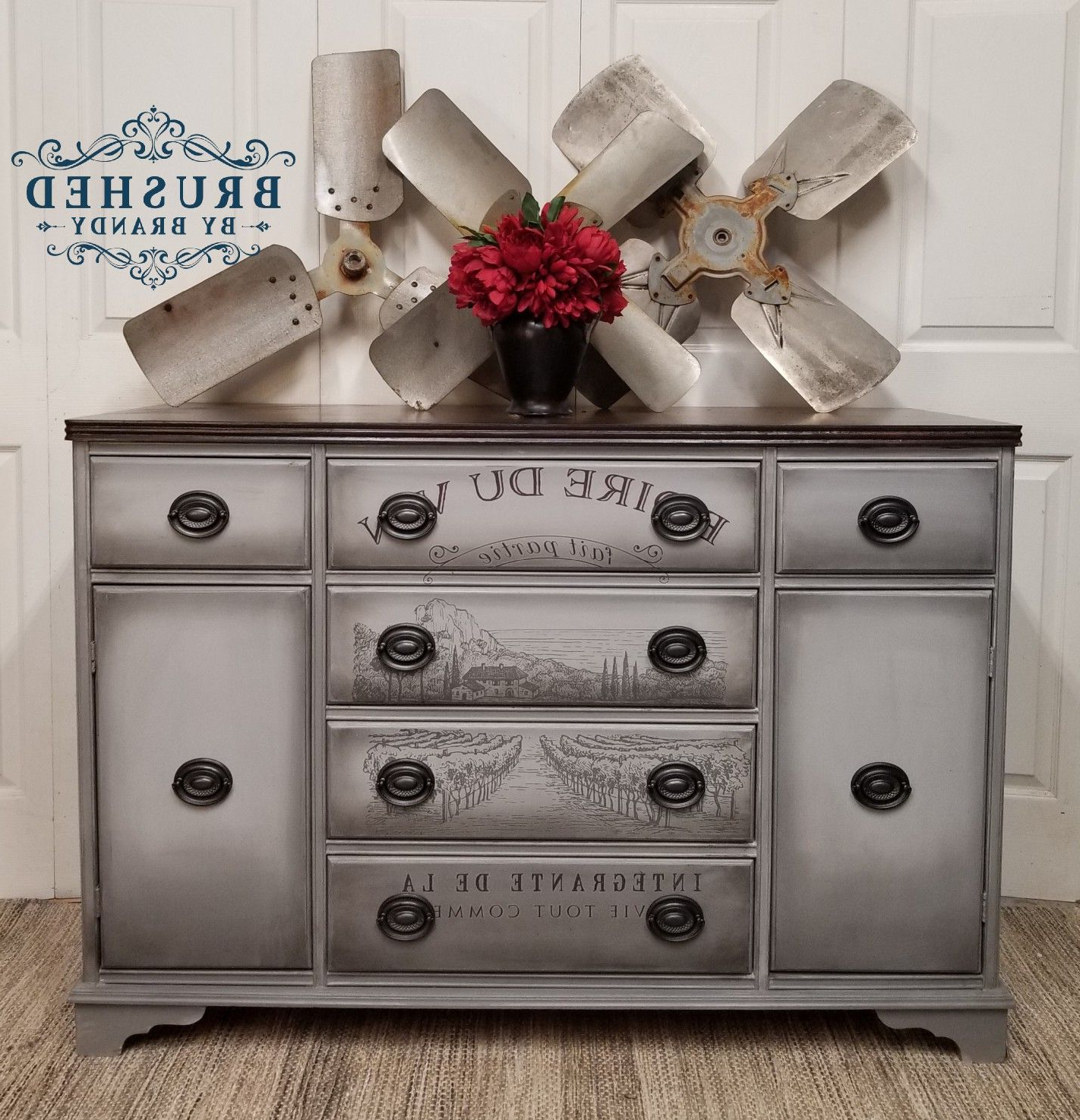 Vintage Buffet Painted With Dixie Belle Paint In Manatee Intended For Grey Wooden Accent Buffets (Gallery 5 of 20)