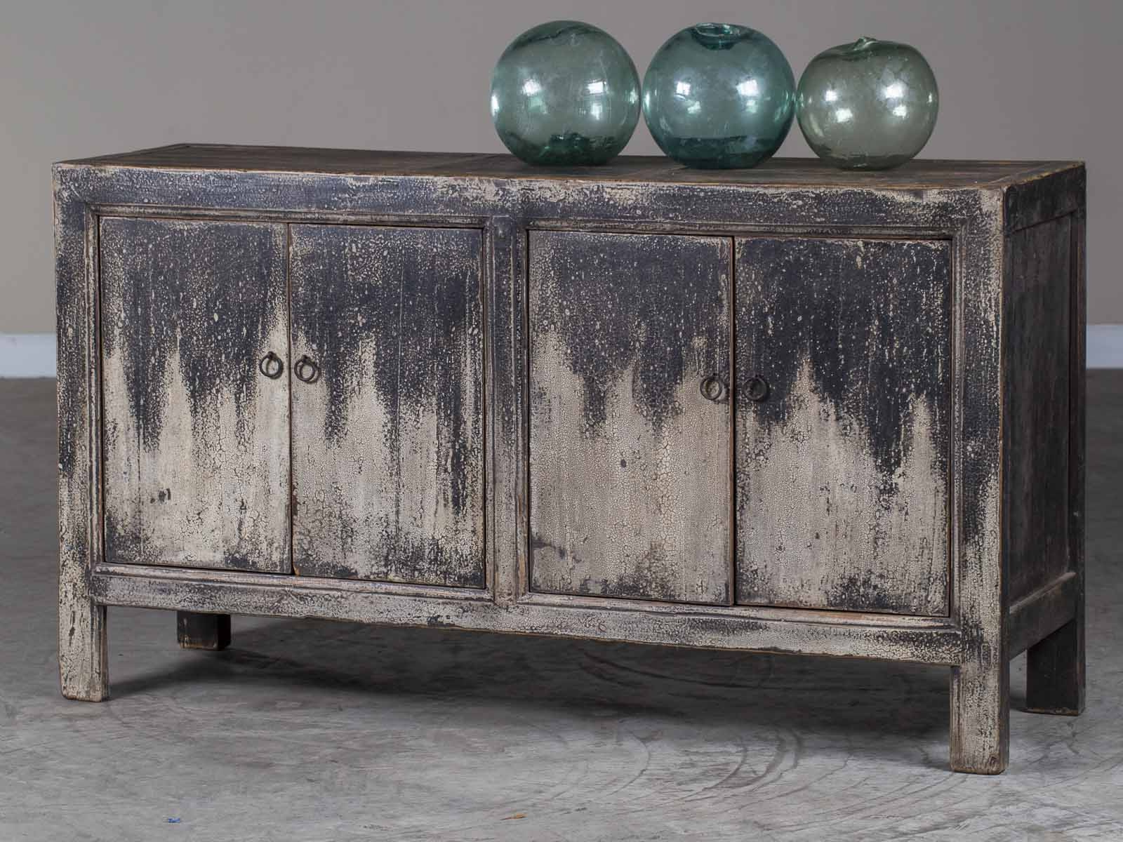 Vintage Chinese Painted Lacquer Four Door Buffet Credenza Circa 1940 Throughout 4 Door Lacquer Buffets (Gallery 17 of 20)