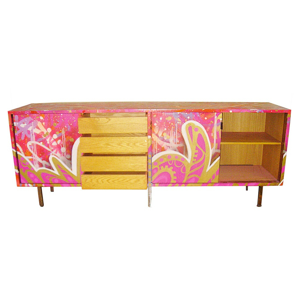 Vintage Florence Knoll Credenza With Graffiti Reimagined In Retro Holistic Credenzas (Gallery 17 of 20)